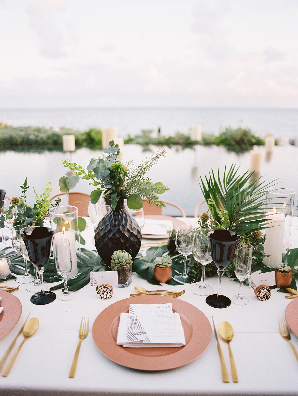 sara danny mexico wedding place setting copper