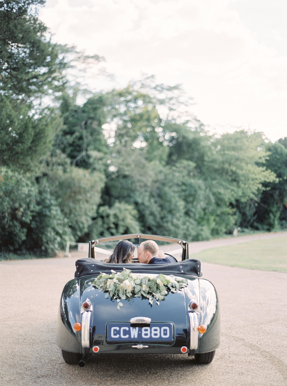 momina jack wedding vintage car couple driving through trees