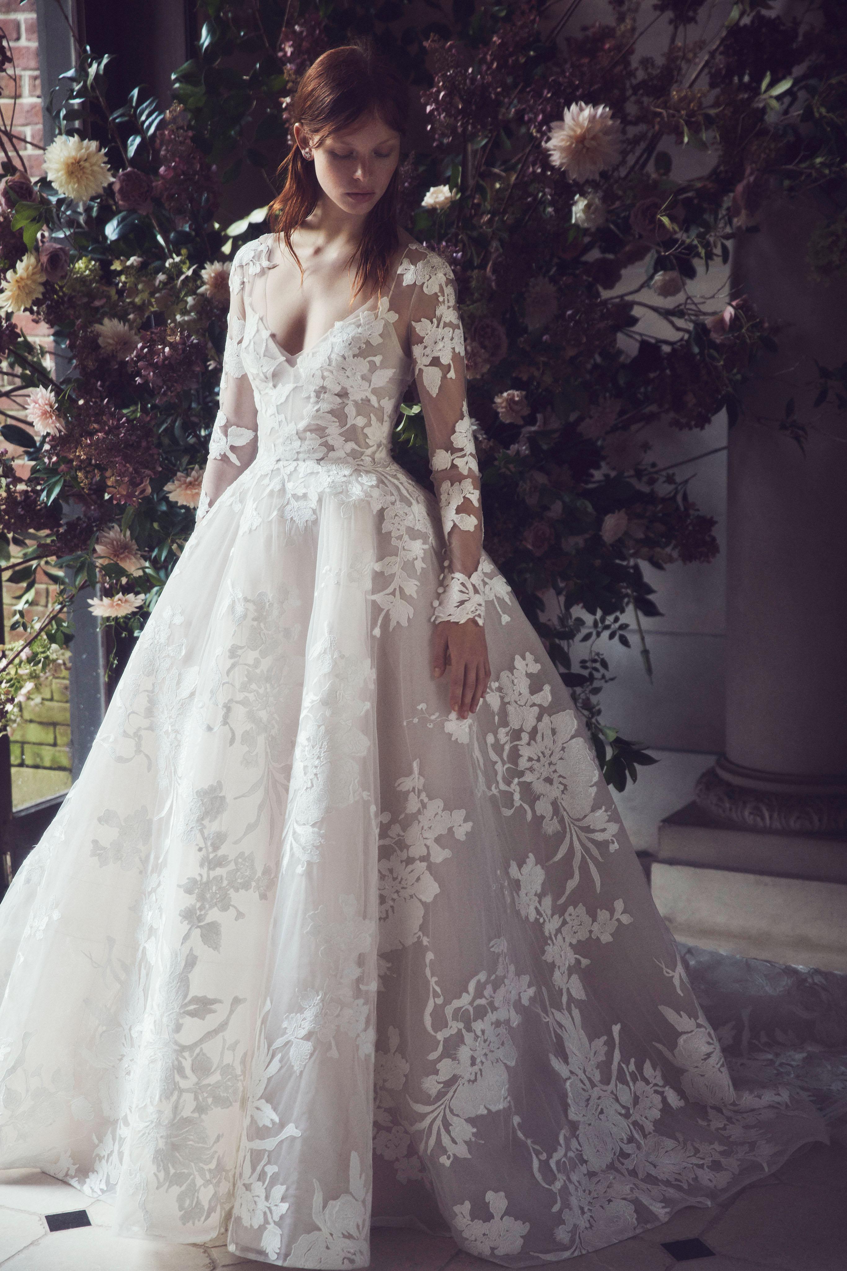 monique lhuillier fall 2019 sweetheart sheer long shoulder ball gown
