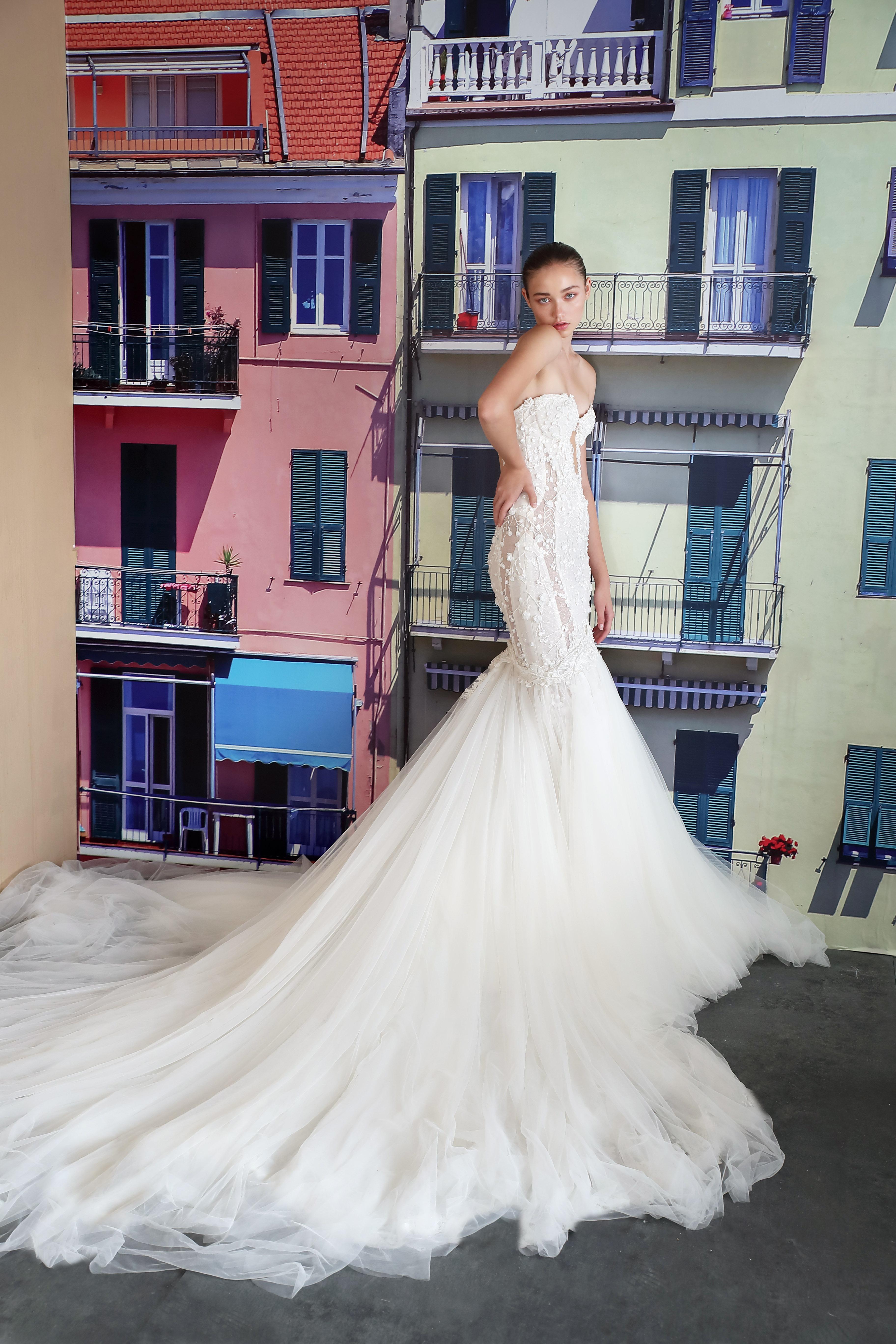 galia lahav off the shoulder trumpet wedding dress fall 2019