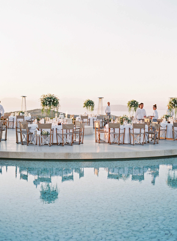 sze amanzoe wedding reception tables greece elegant