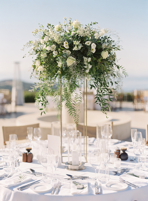 sze amanzoe wedding reception centerpiece greece elegant