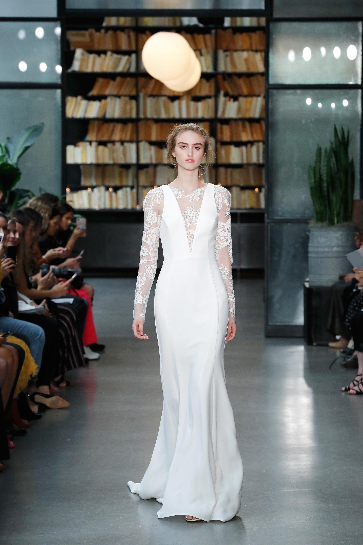 nouvelle amsale wedding dress long sleeves lace trumpet