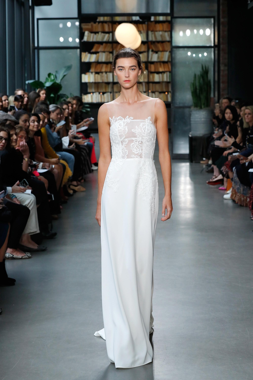 nouvelle amsale wedding dress illusion flower applique sheath