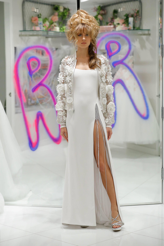 randi rahm fall 2019 spaghetti strap sheath dress with floral bomber jacket