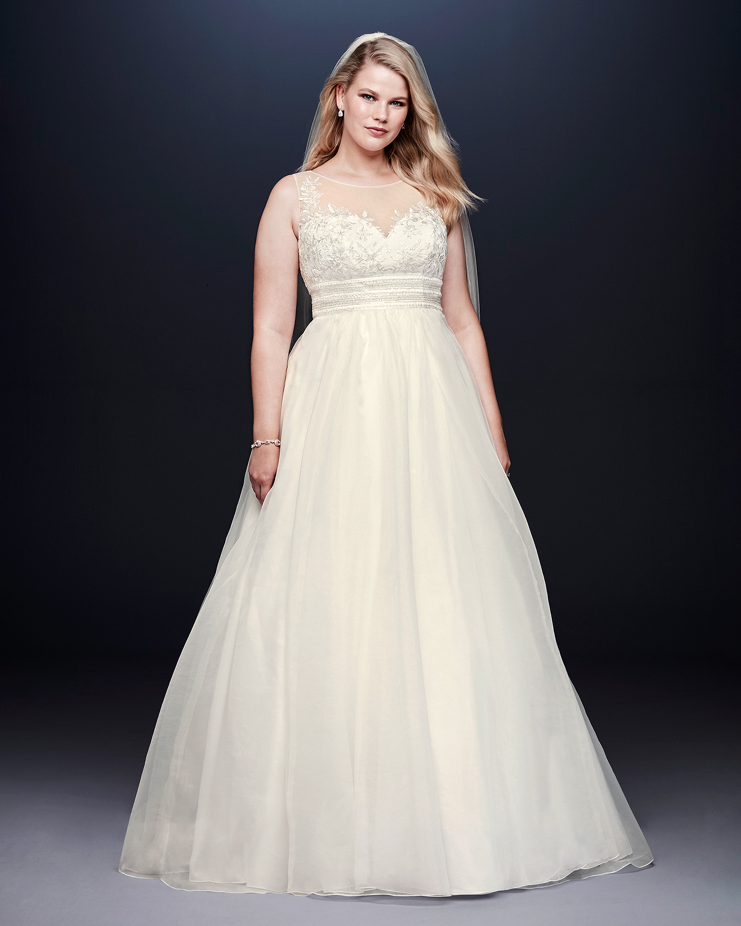 davids bridal wedding dress fall 2019 high illusion neck a-line