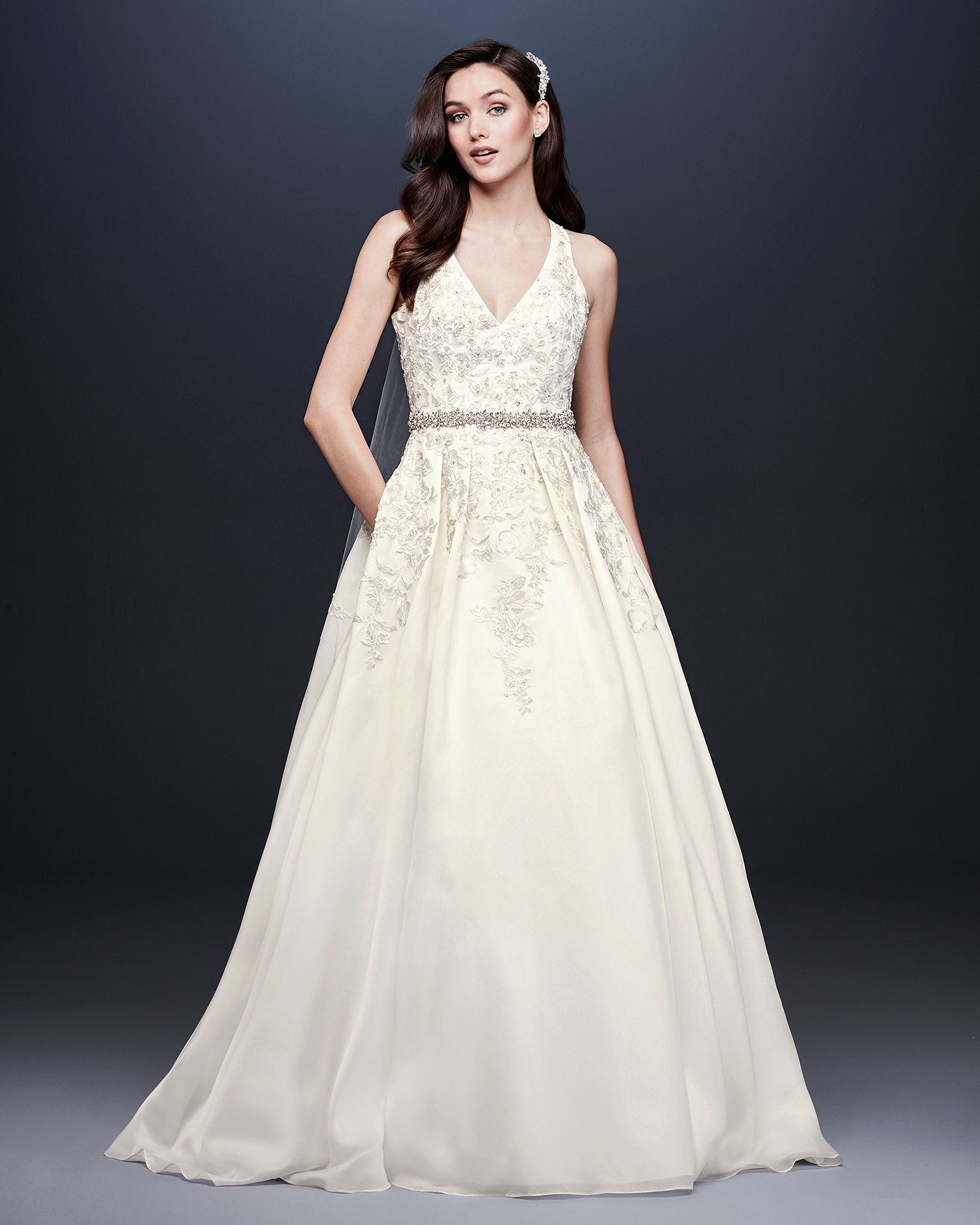 davids bridal wedding dress fall 2019 v-neck a-line with crystal belt