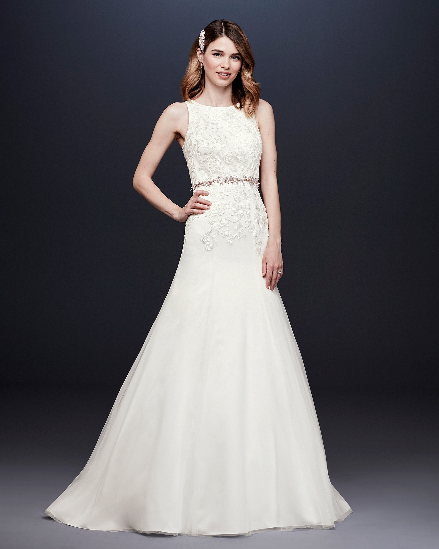 davids bridal wedding dress fall 2019 high-neck a-line with belt
