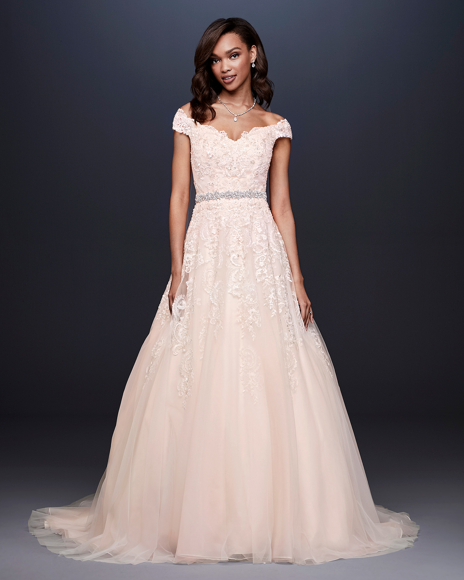 davids bridal wedding dress fall 2019 blush a-line with cap sleeves