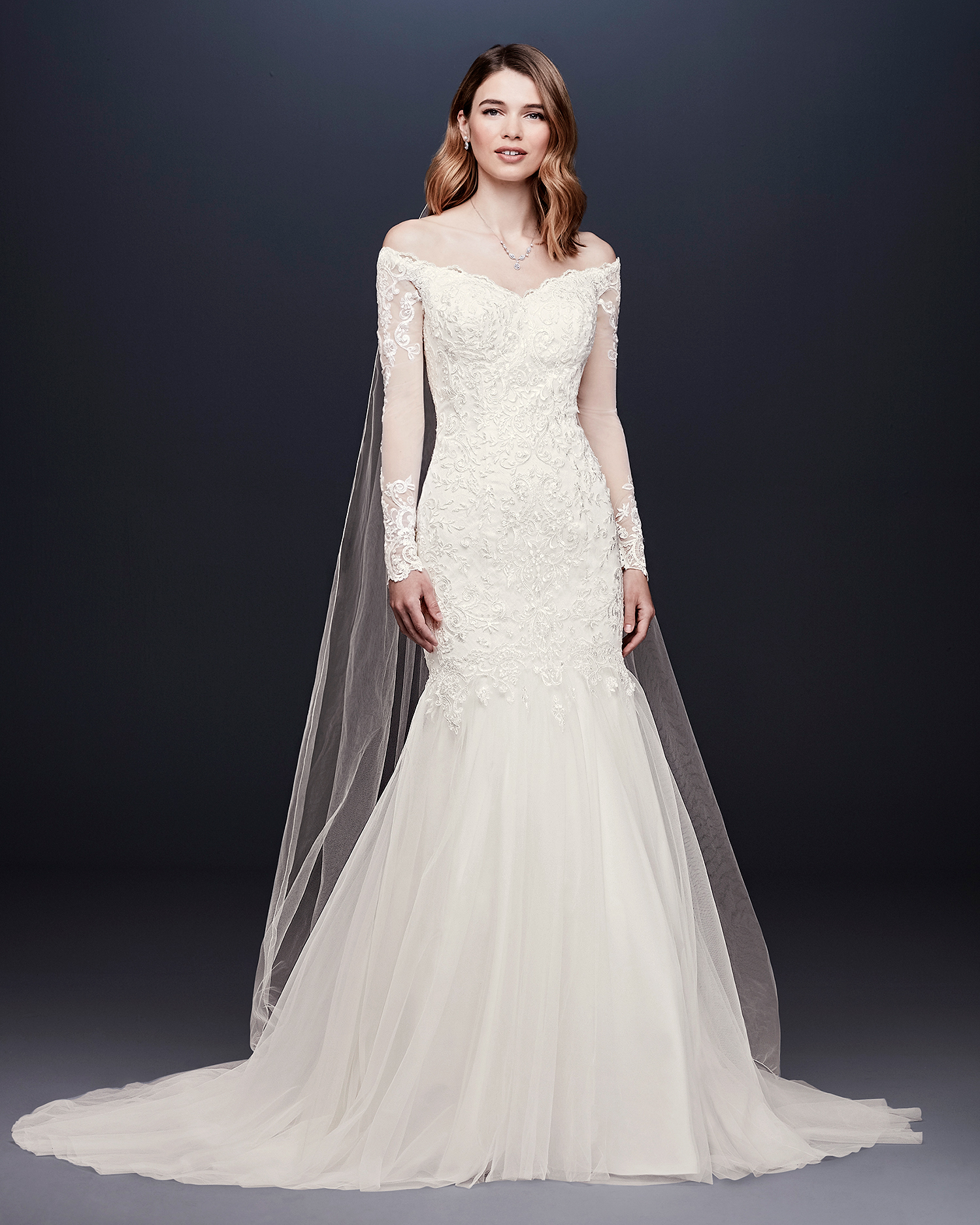 davids bridal wedding dress fall 2019 off-the-shoulder long-sleeved trumpet