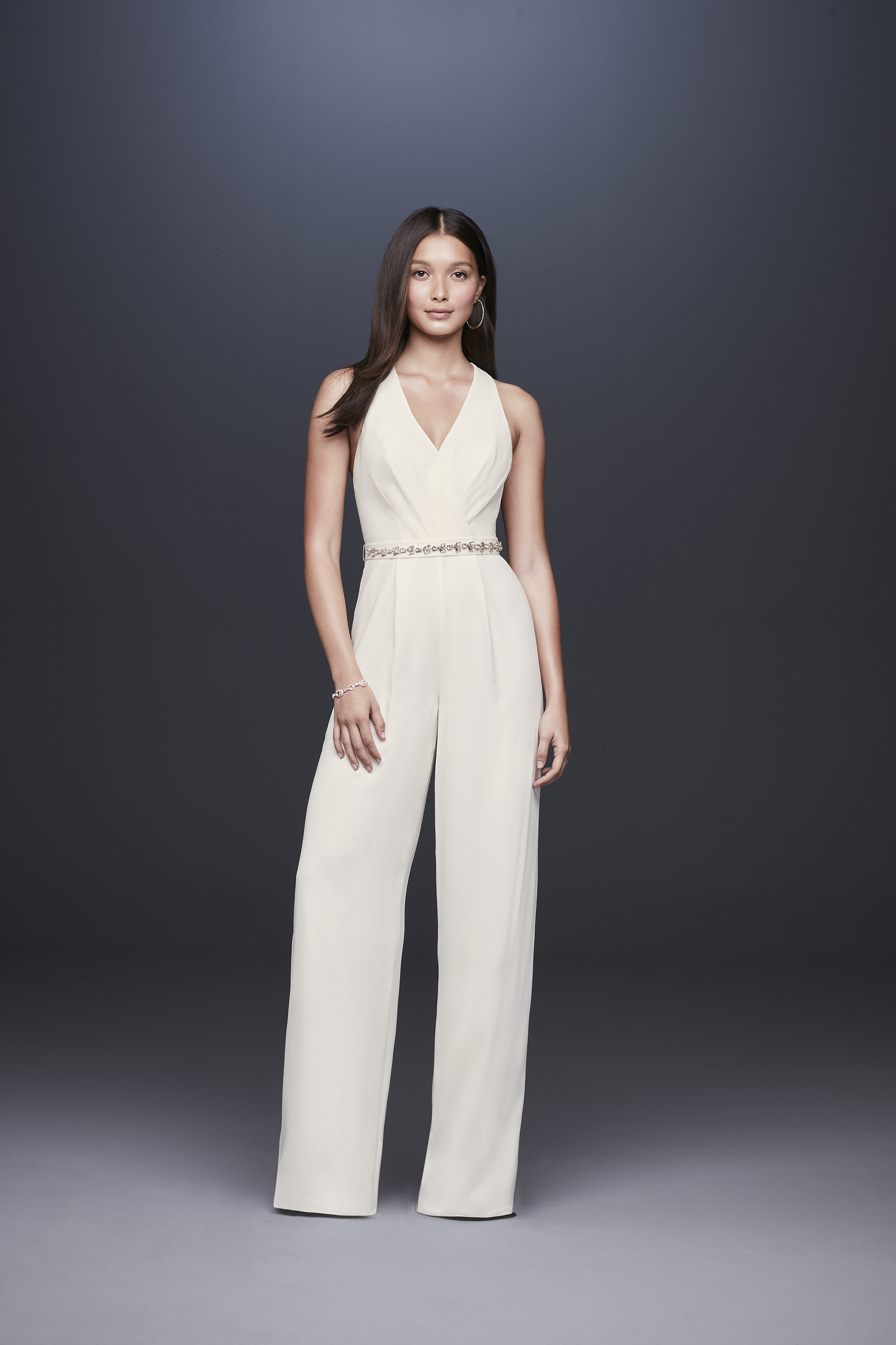 davids bridal db studio fall 2019 jumpsuit v neck sleeveless beaded belt