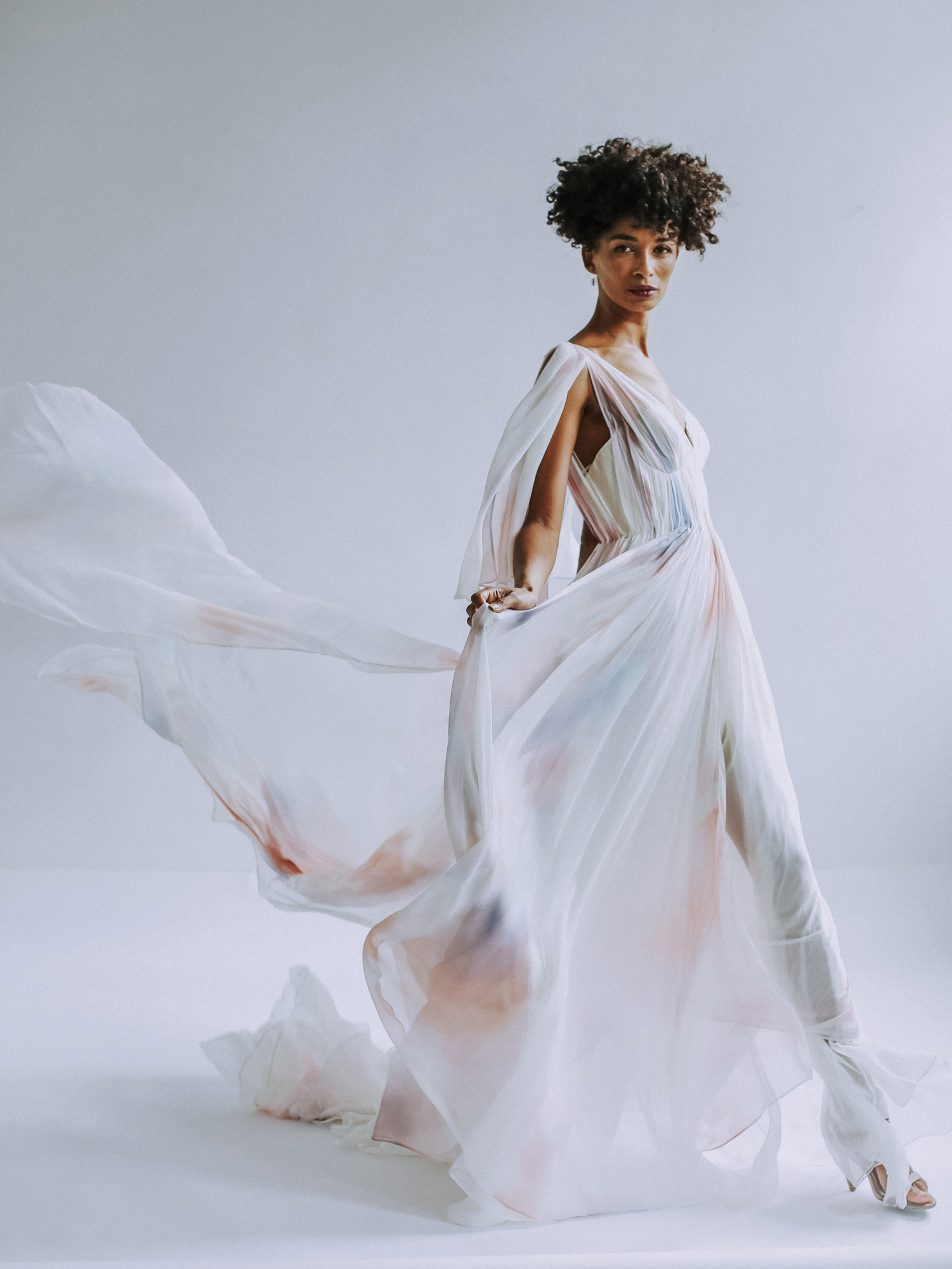 Leanne Marshall sheer wedding dress with color accents fall 2019