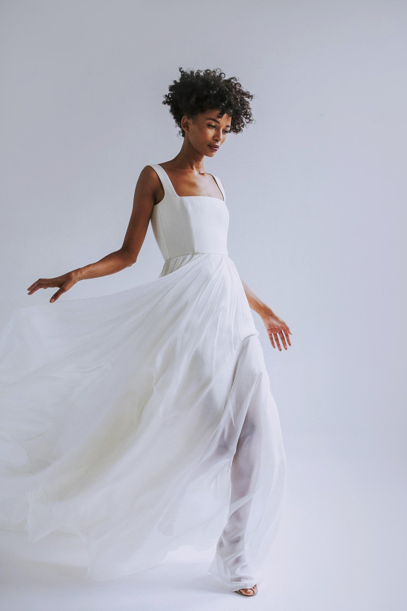 Leanne Marshall wedding dress with sheer skirt fall 2019