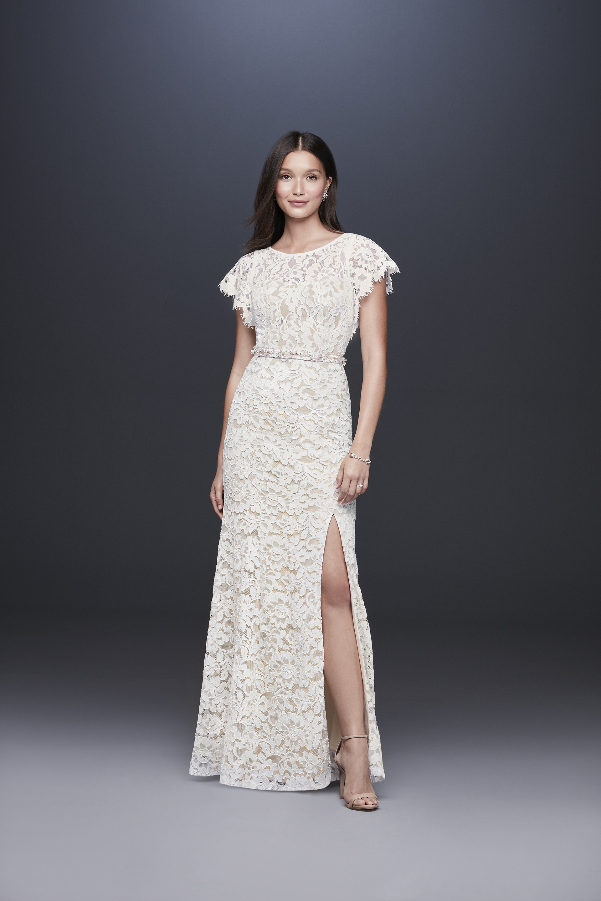 davids bridal db studio fall 2019 trumpet high slit round neck lace overlay belt