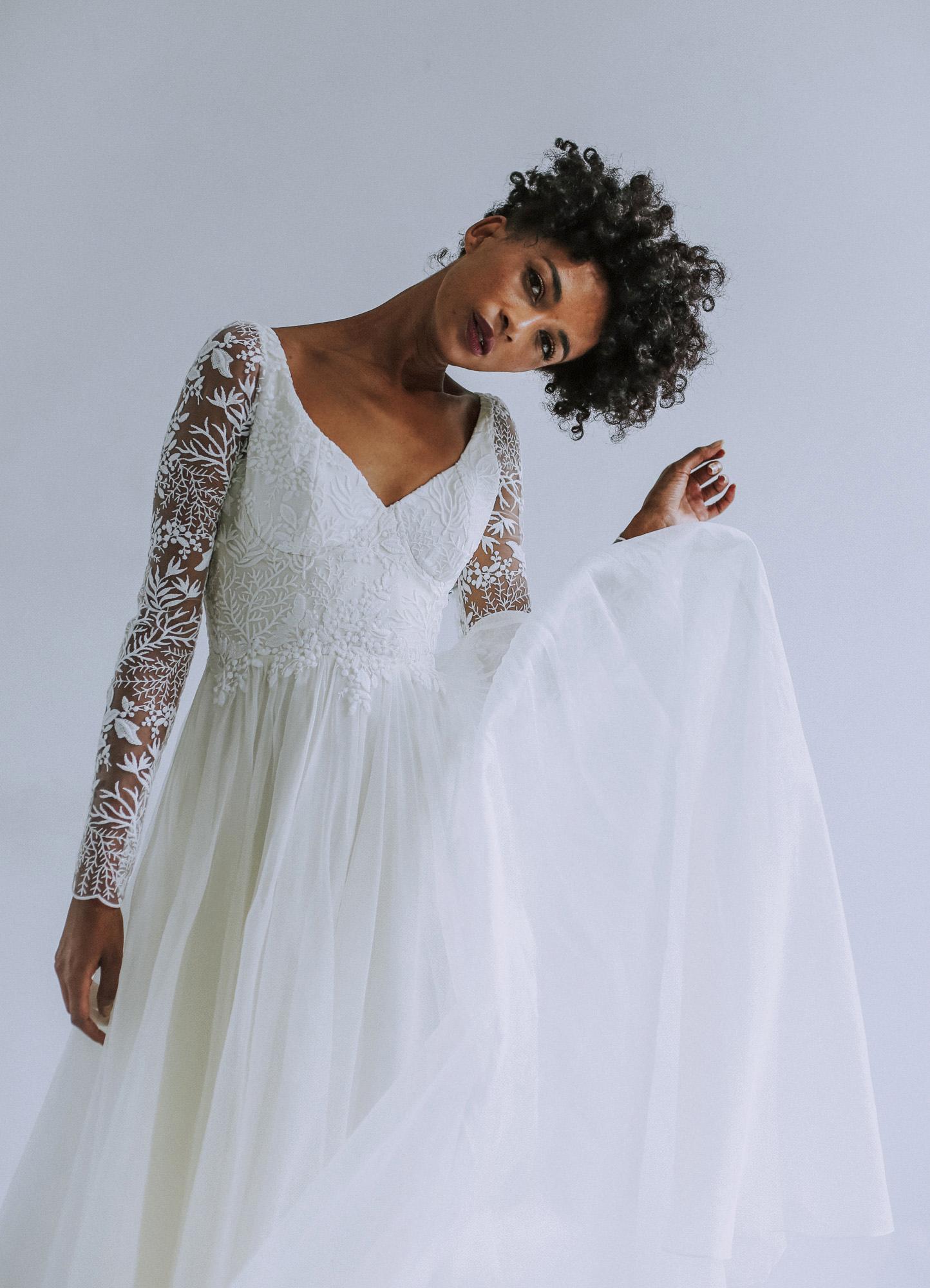 Leanne Marshall illusion long sleeve wedding dress fall 2019