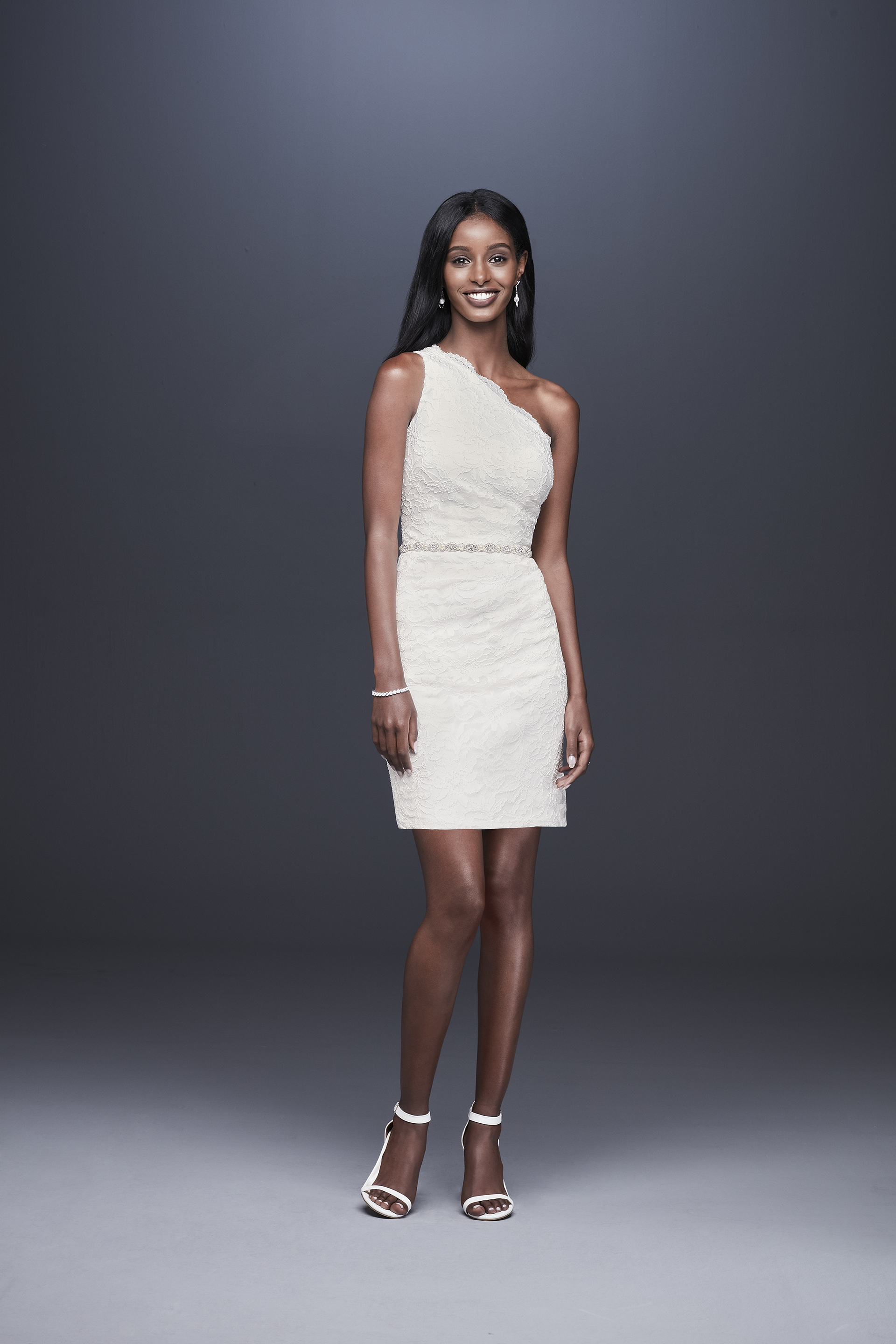 davids bridal db studio fall 2019 short sheath asymmetrical neckline sleeveless lace beaded belt