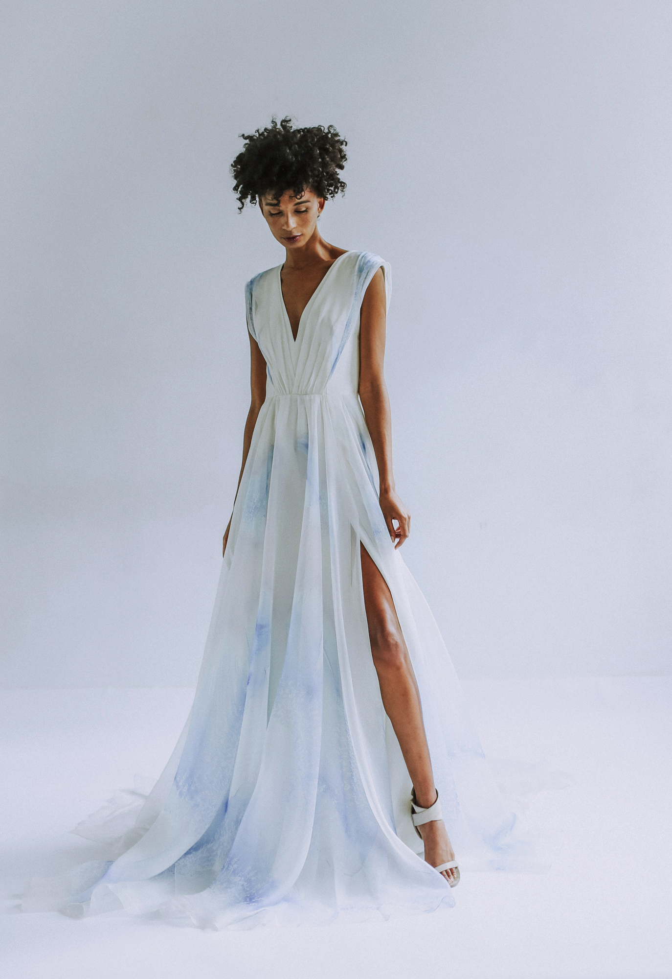 Leanne Marshall a-line wedding dress with blue accents fall 2019