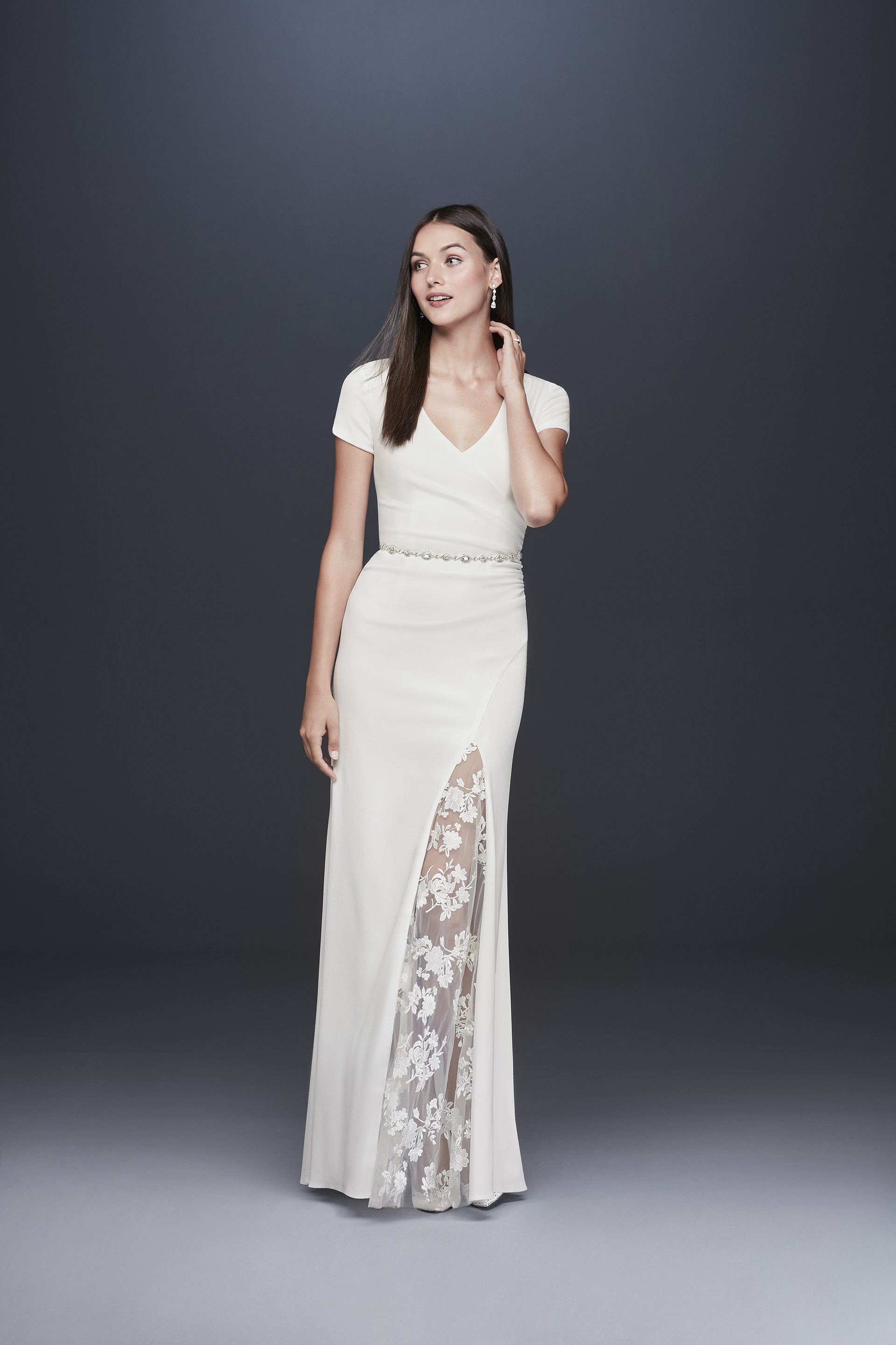 davids bridal db studio fall 2019 trumpet high slit v neck short sleeve sheer lace beaded belt
