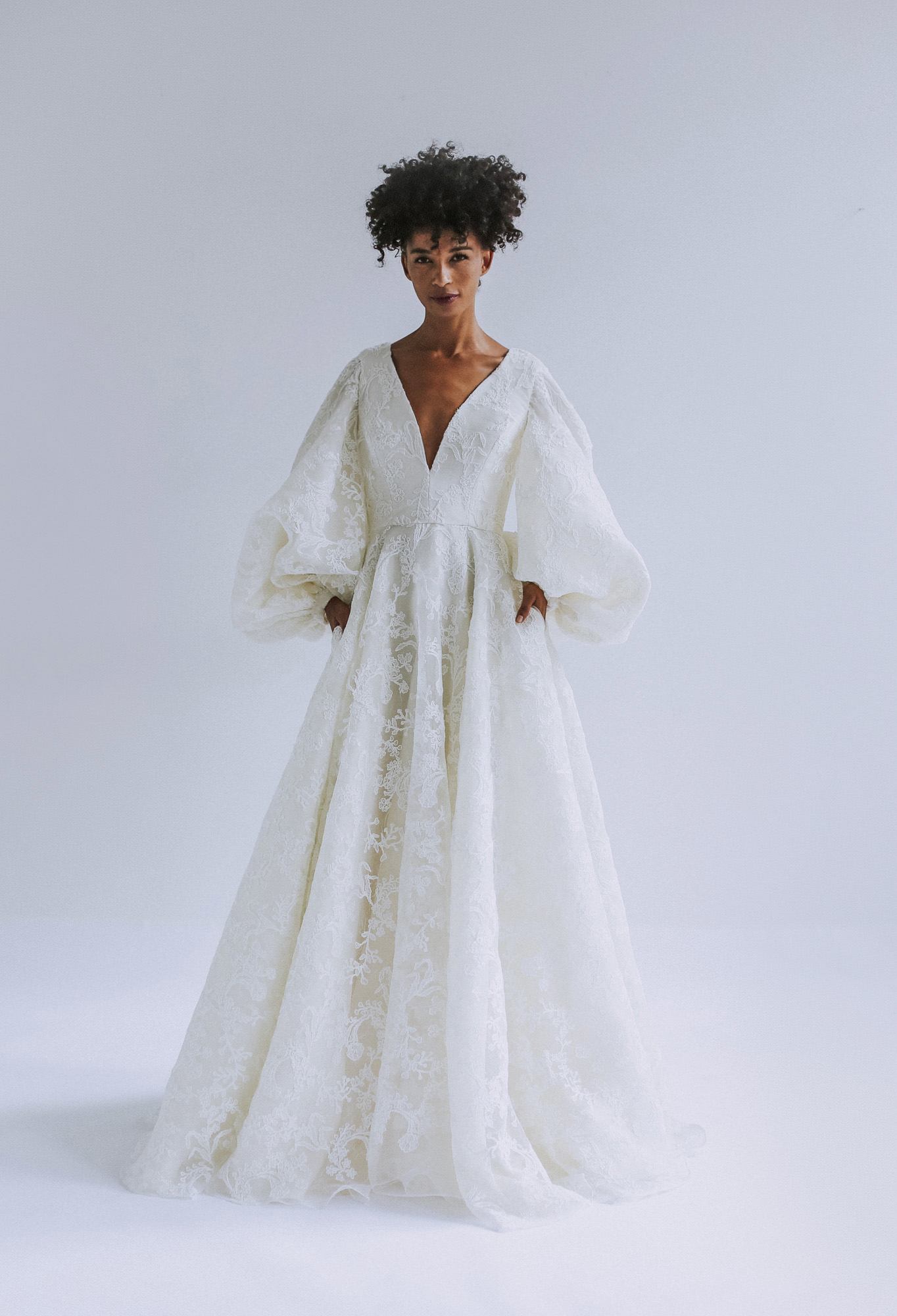 Leanne Marshall v-neck wedding dress with bell sleeves fall 2019