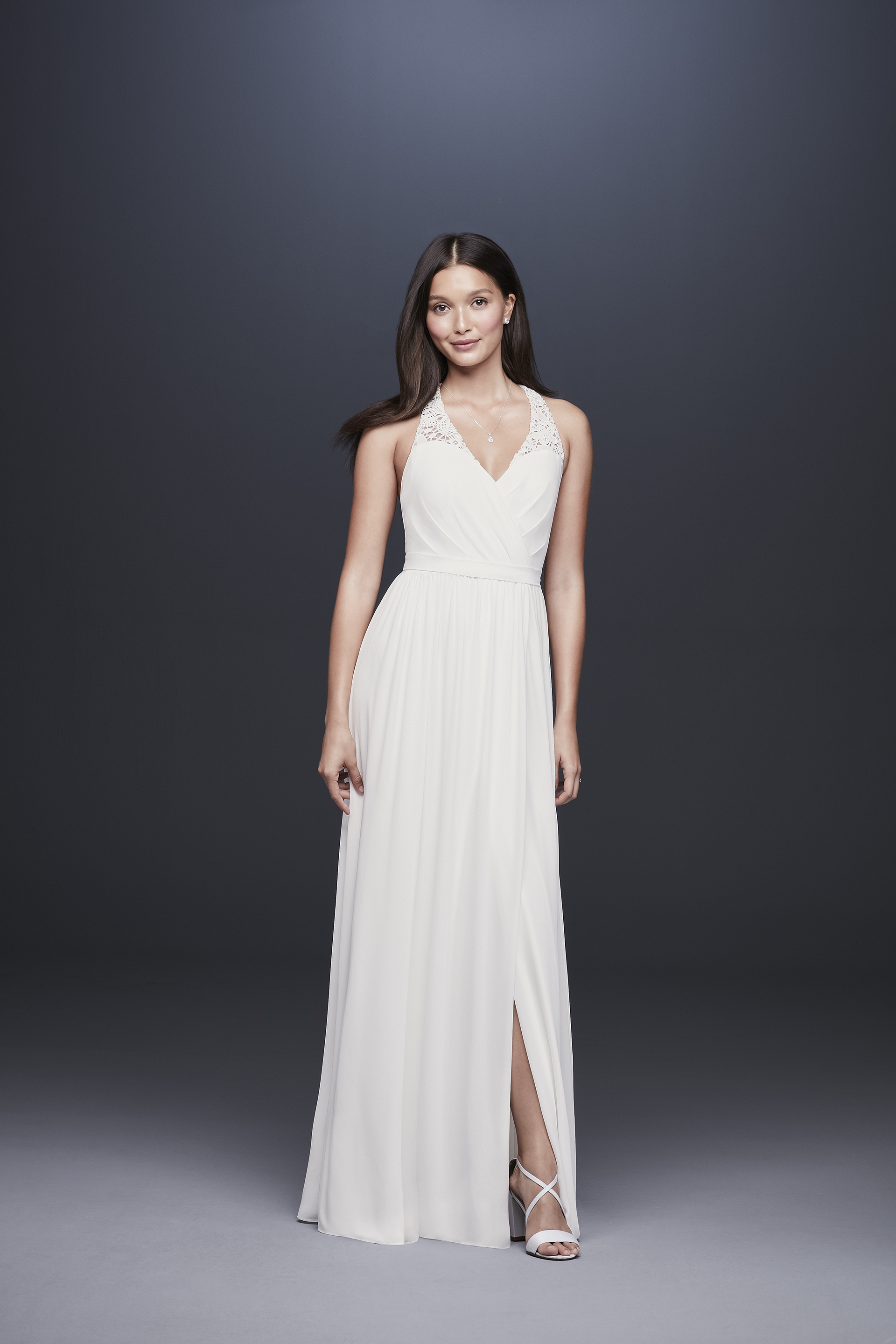 davids bridal db studio fall 2019 trumpet low slit v neck sleeveless simple lace