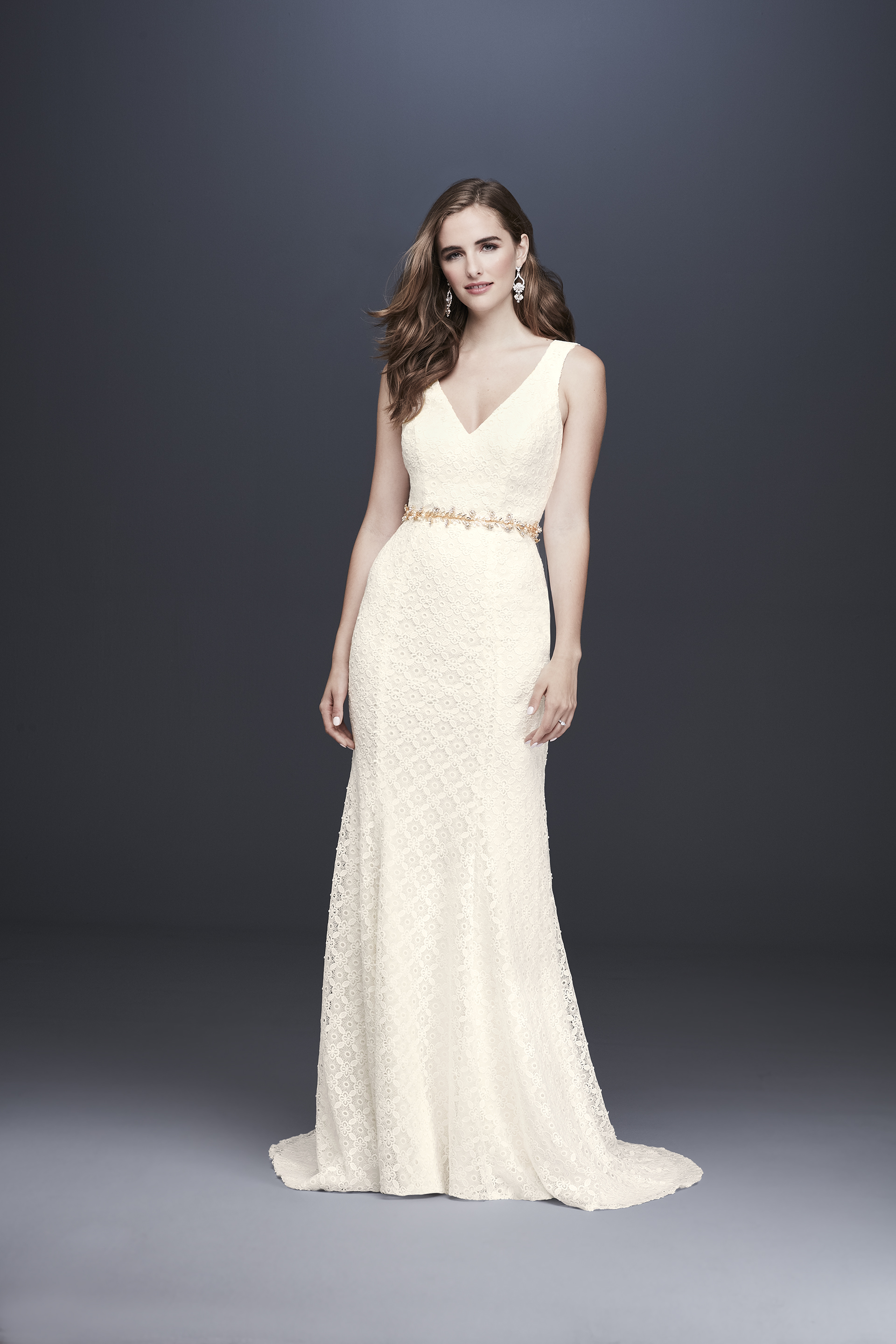 davids bridal galina fall 2019 trumpet v neck sleeveless lace overlay beaded belt off white