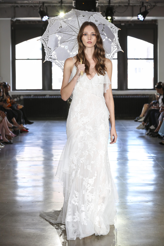 watters sheath wedding dress with spaghetti straps fall 2019