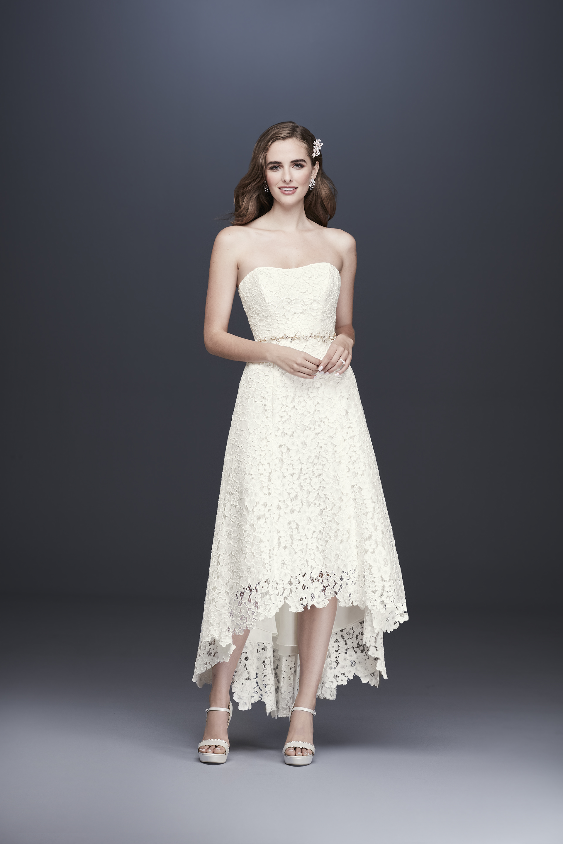 davids bridal galina fall 2019 high low strapless lace beaded belt