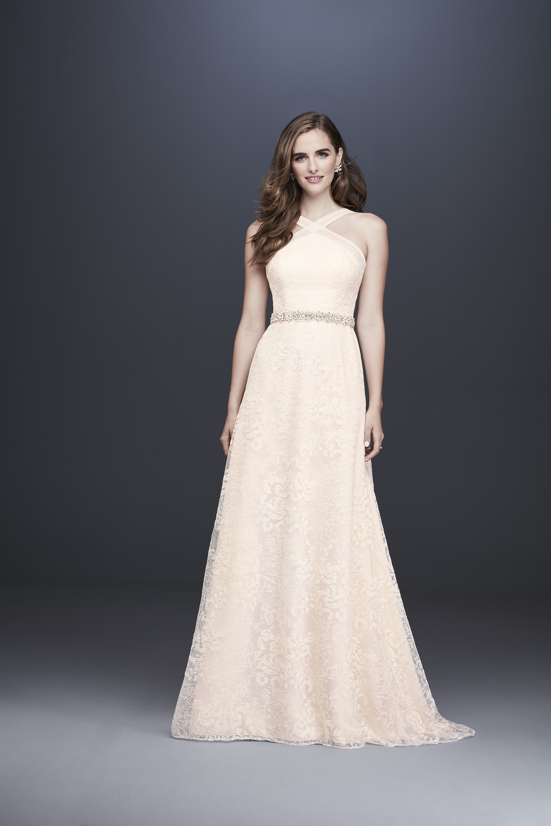 davids bridal galina fall 2019 a line halter light pink lace overlay beaded belt