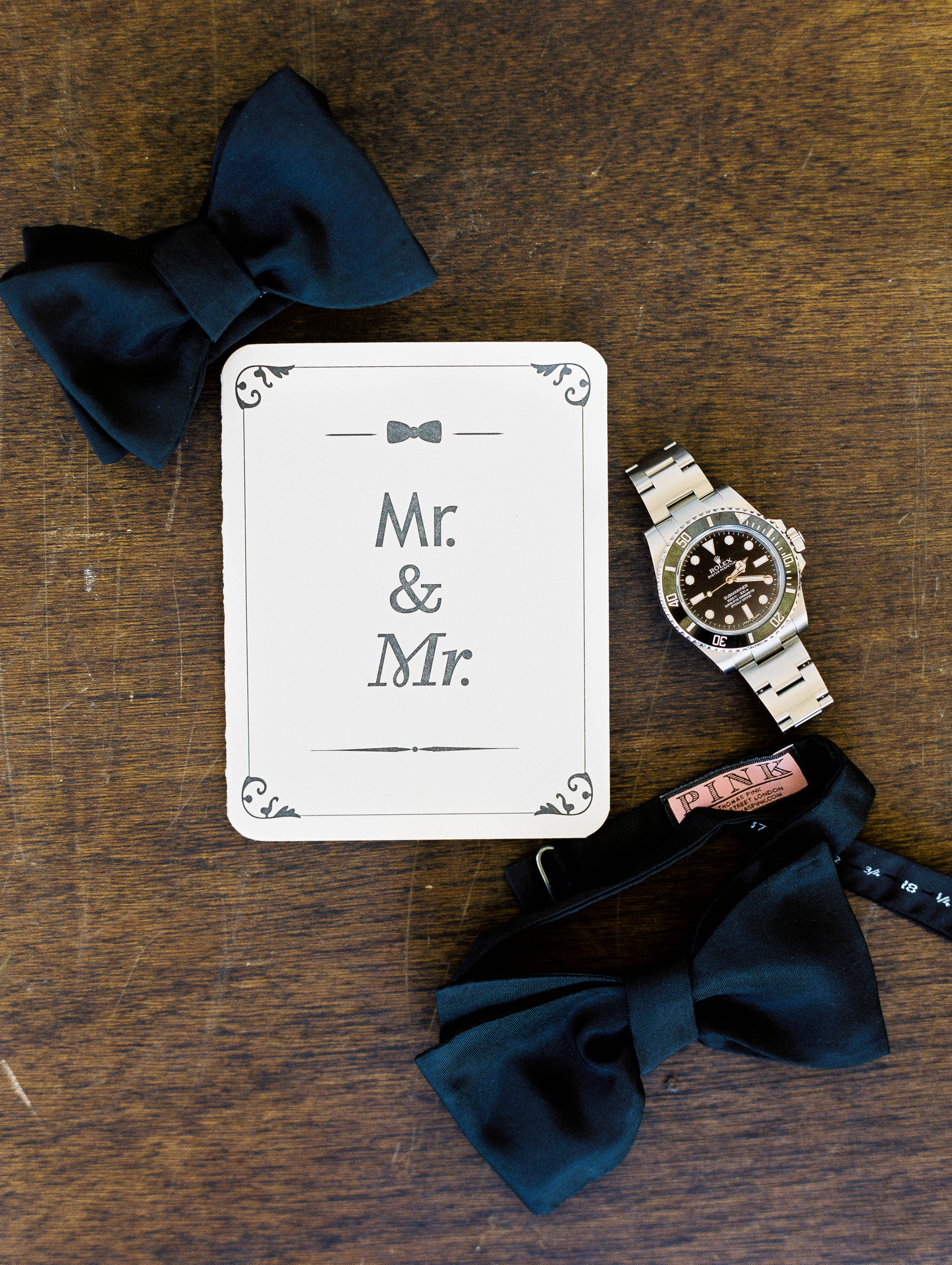 mr and mr classic card sign with blue bow ties