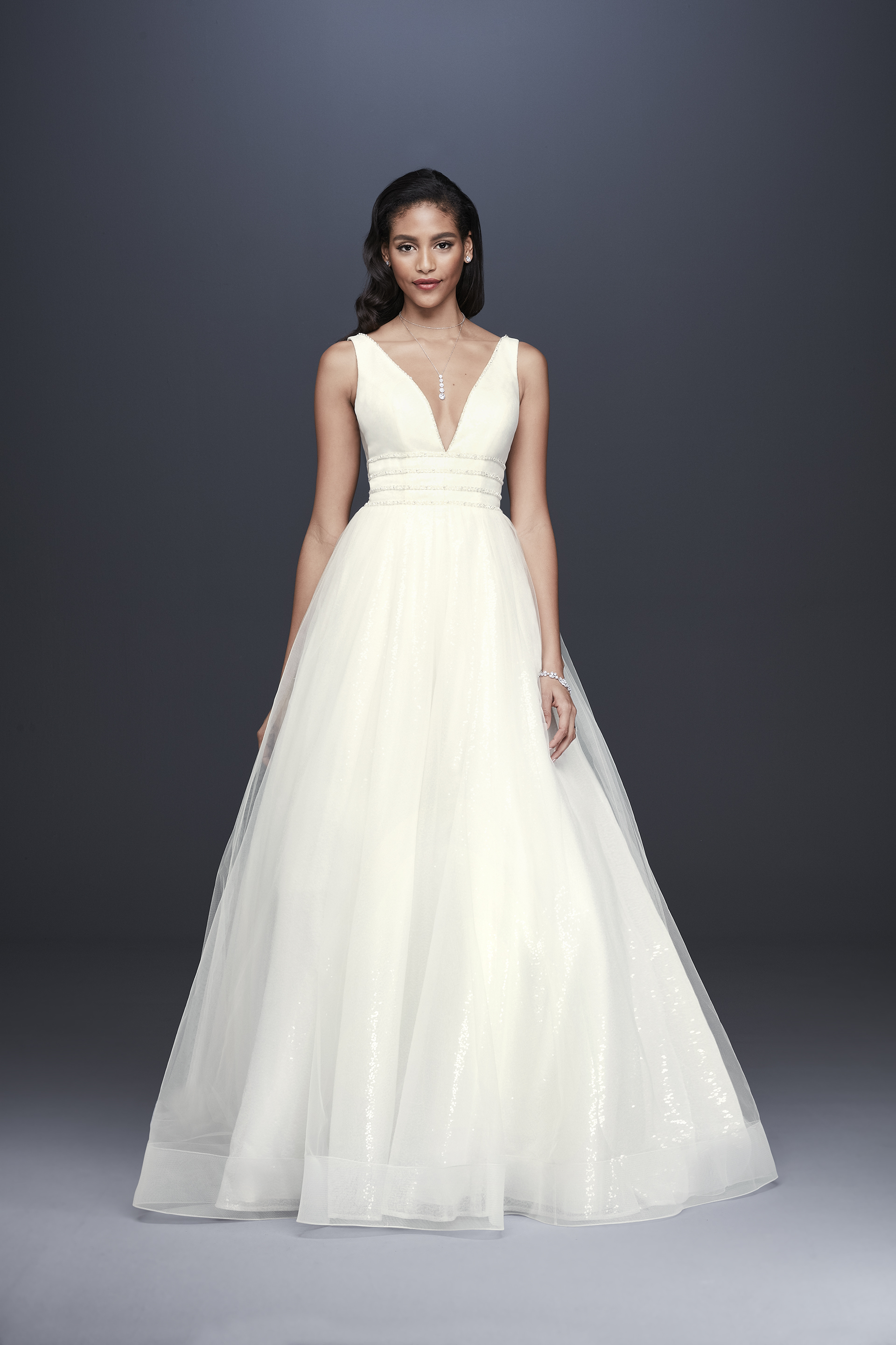 davids bridal galina signature fall 2019 ball gown plunging v neck sleeveless beaded belt sheer overlay