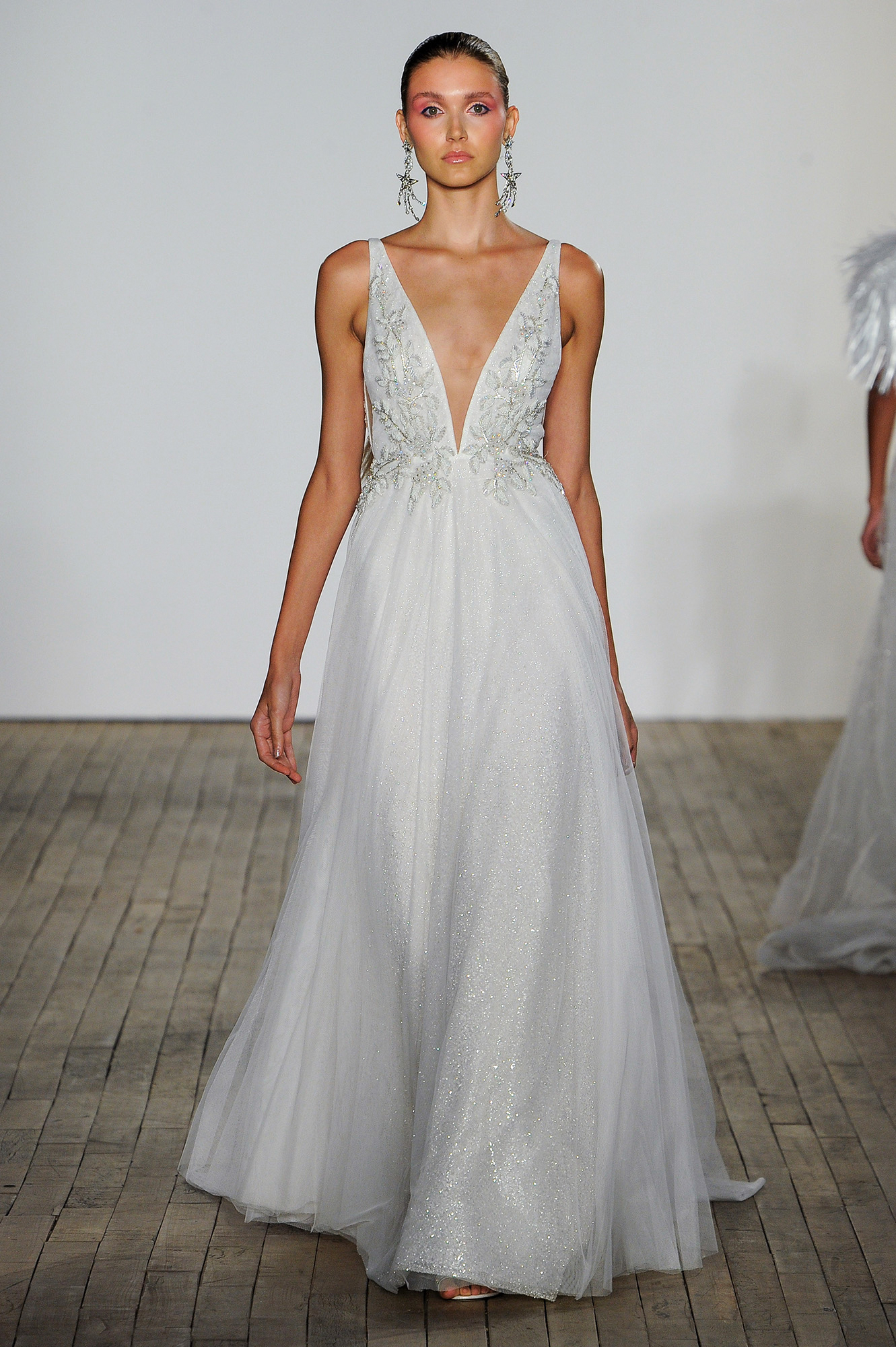 lazaro fall 2019 v-neck spaghetti strap sheath wedding dress