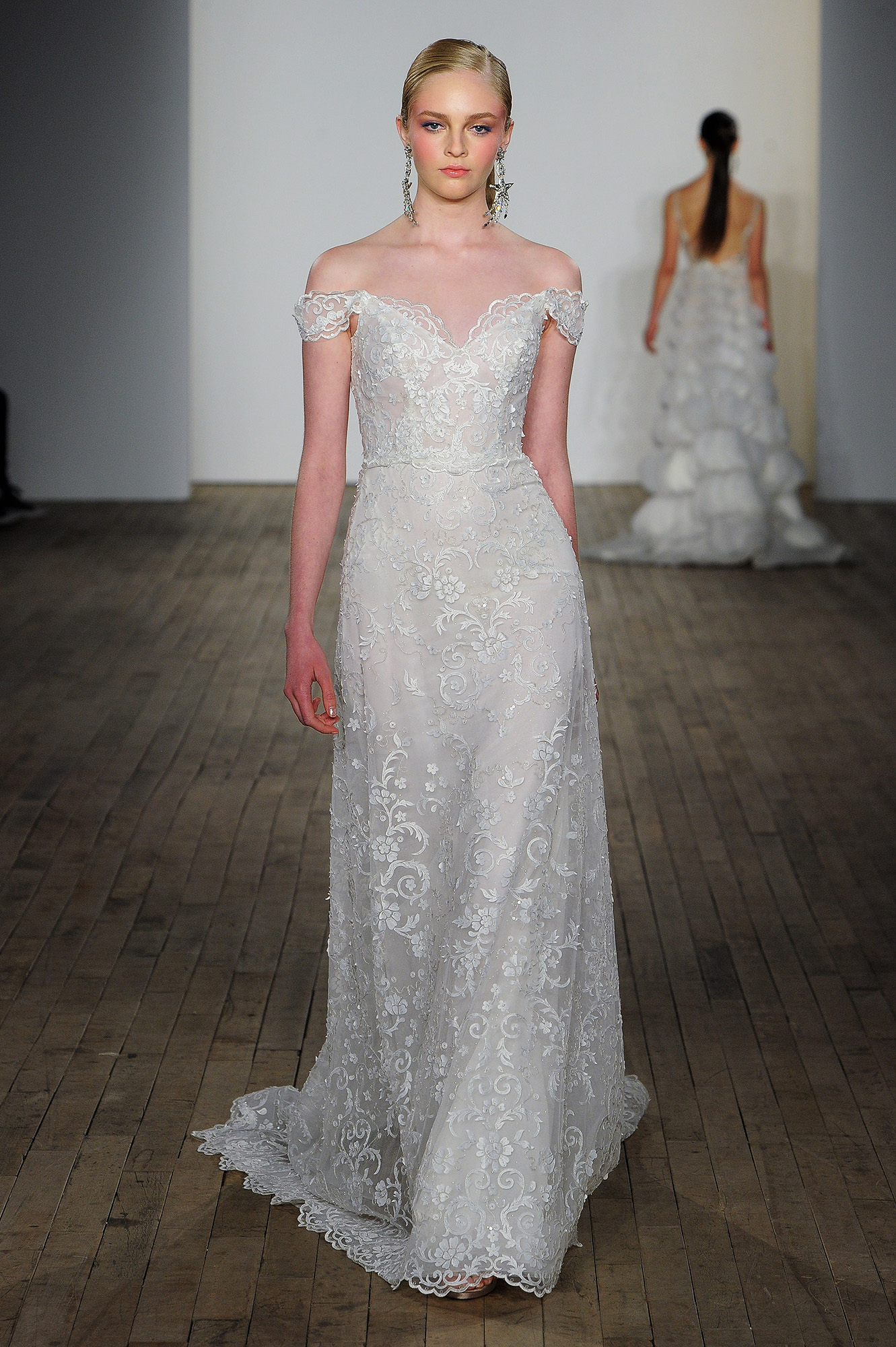 lazaro fall 2019 over the shoulder sheath wedding dress
