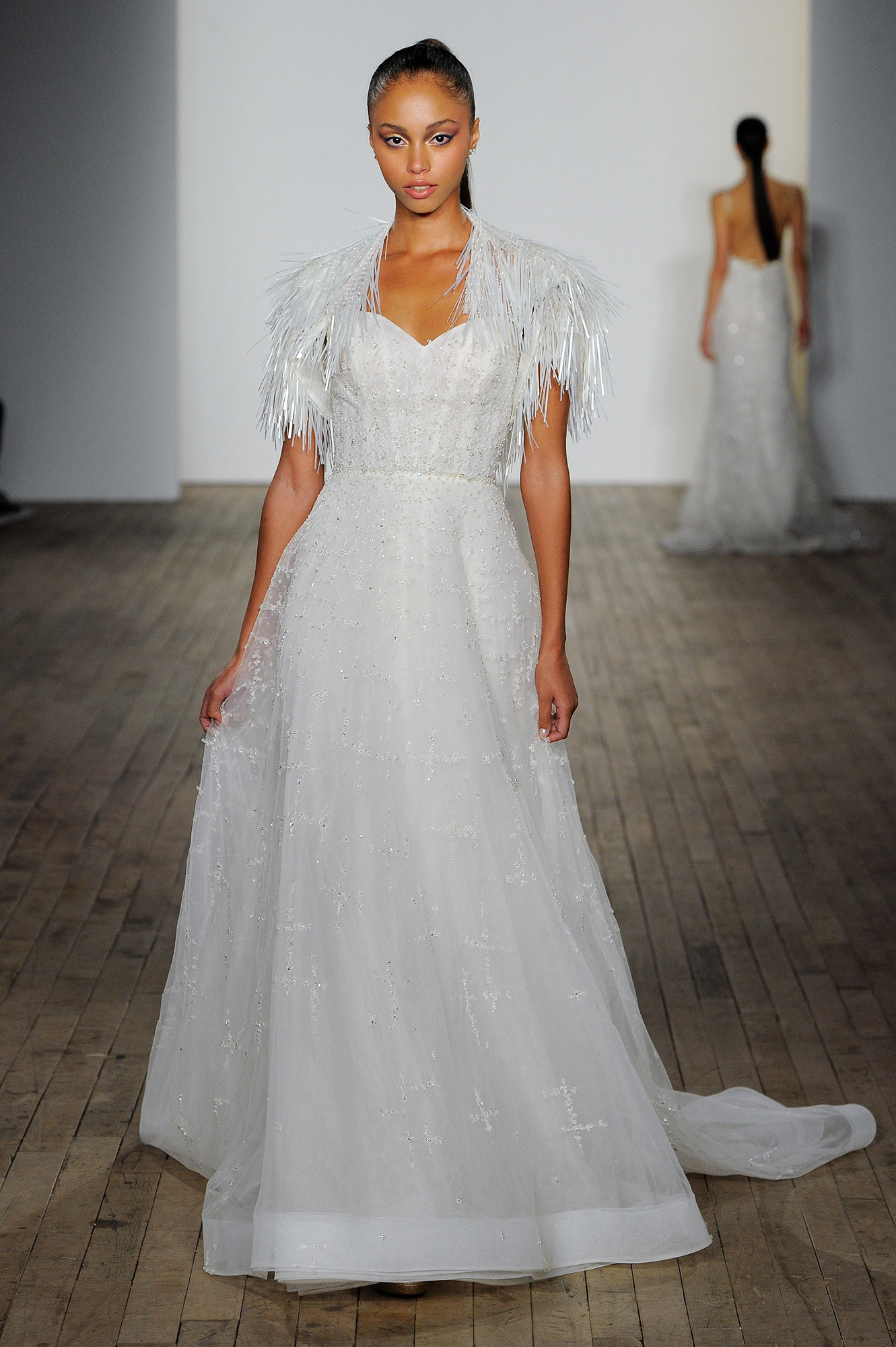 lazaro fall 2019 sheath fringe wedding dress