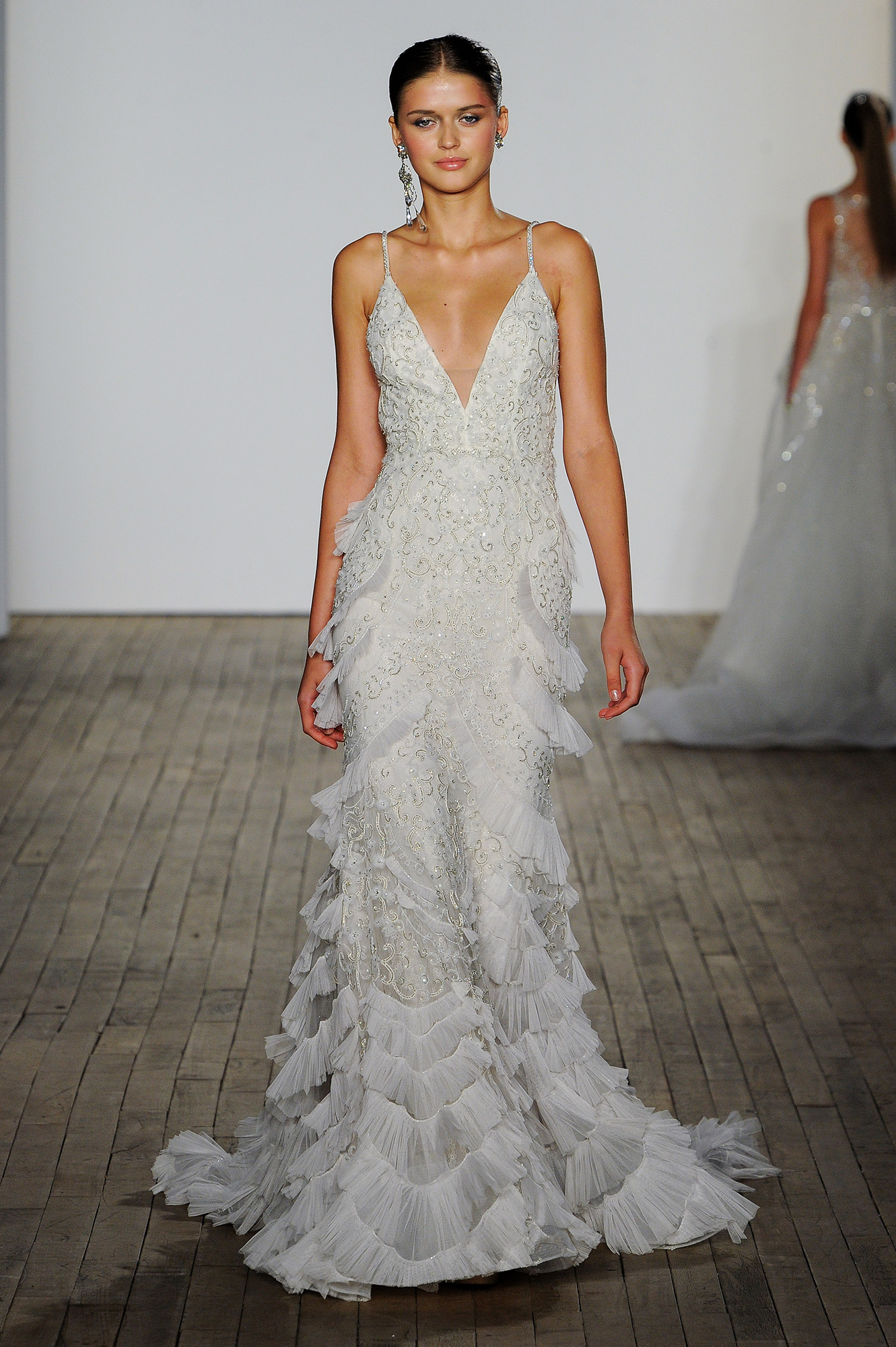 lazaro fall 2019 v-neck tier beaded wedding dress
