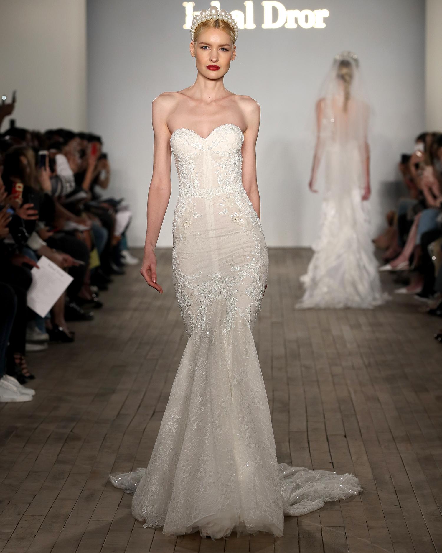 inbal dror wedding dress strapless sweetheart embroidered mermaid