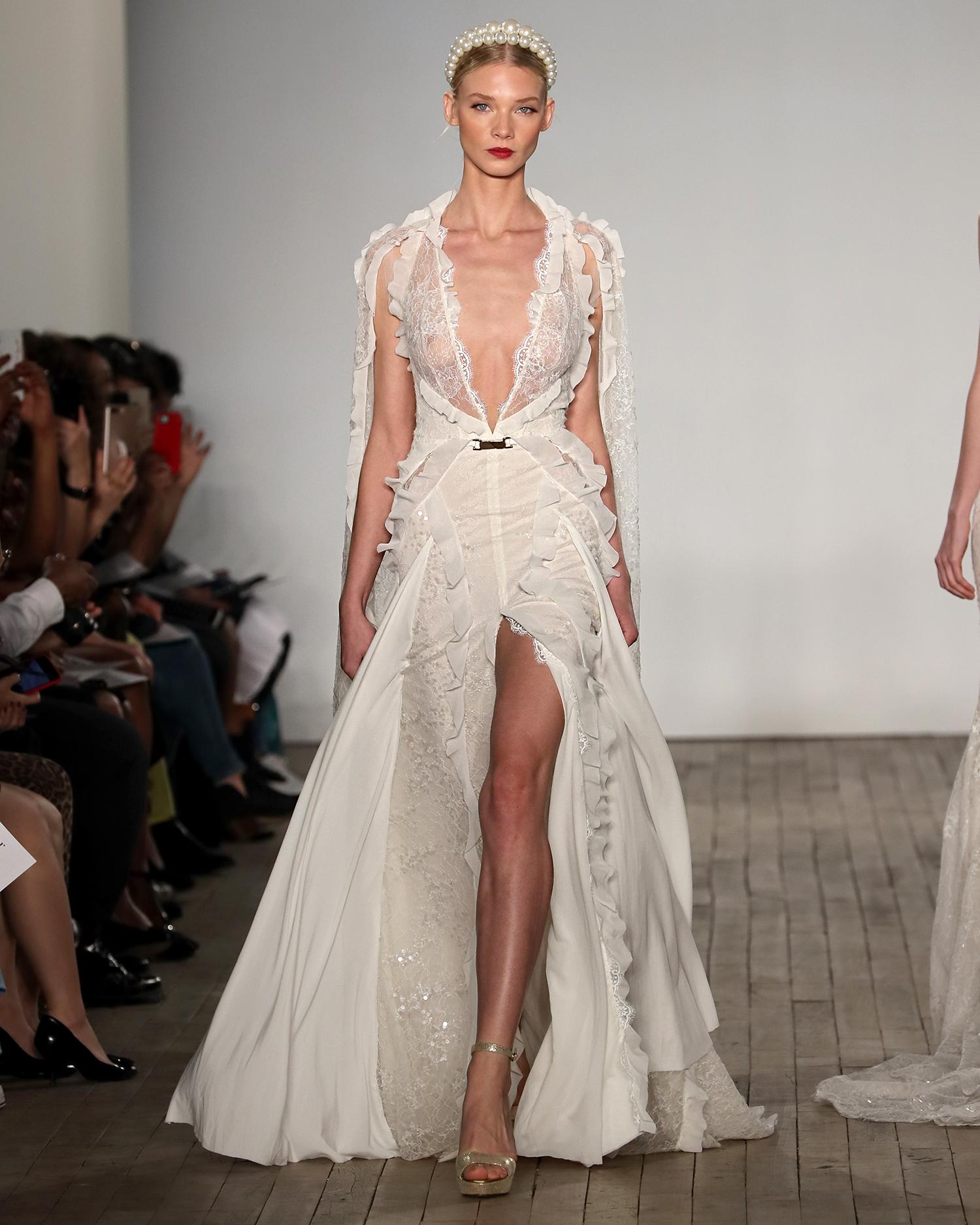 inbal dror wedding dress layered plunging v-neck with high slit