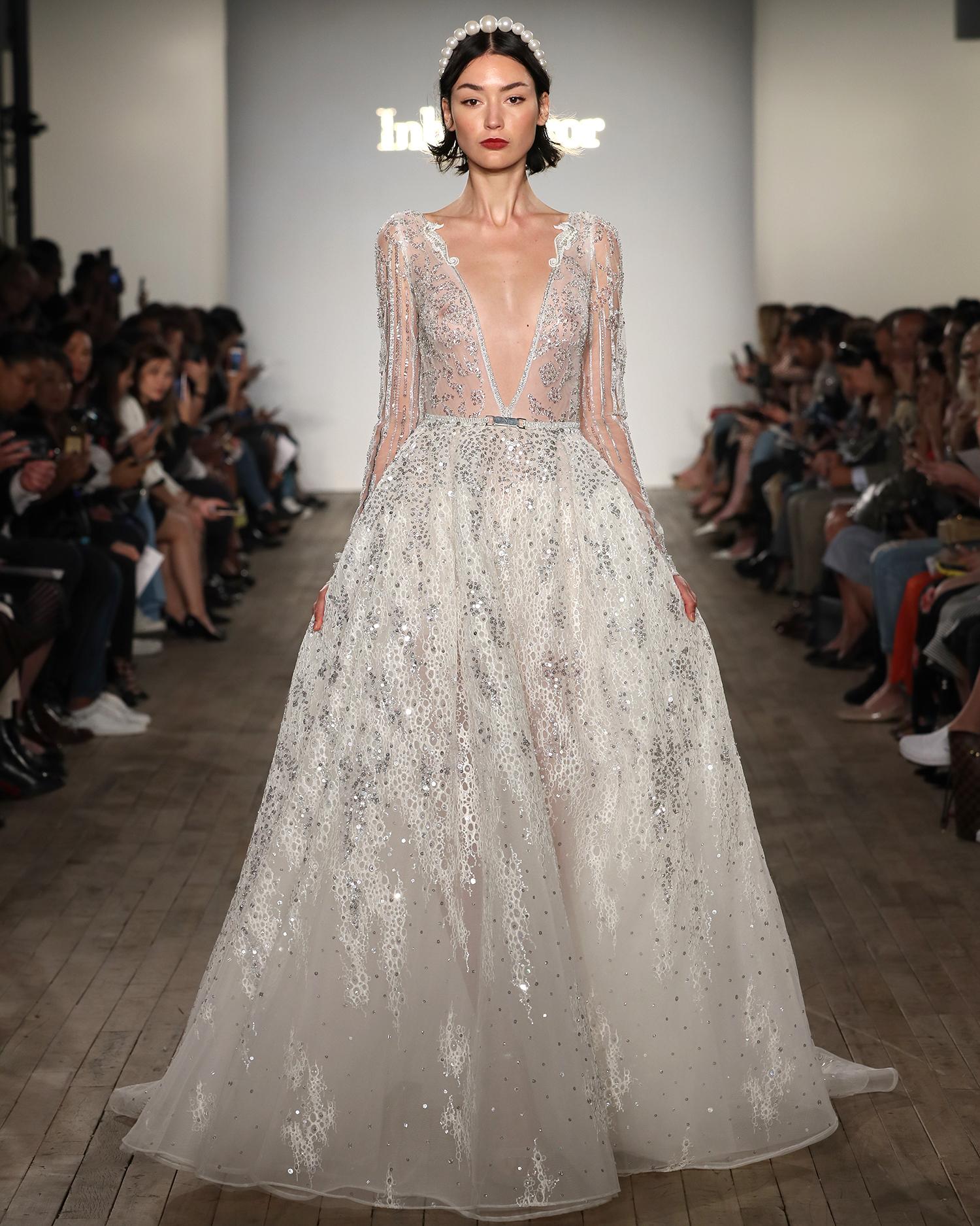 inbal dror wedding dress deep v-neck beaded ball gown