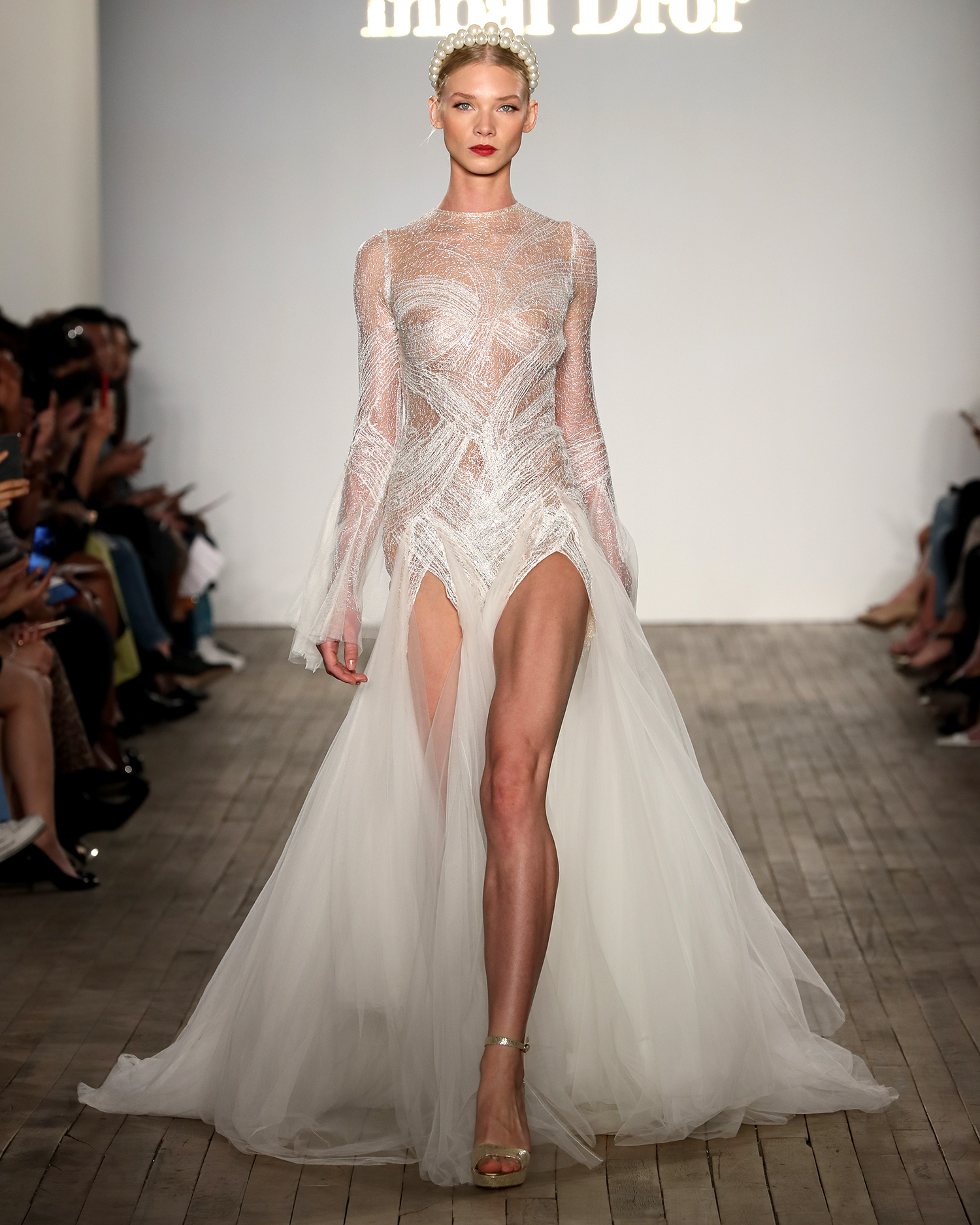 inbal dror wedding dress high-neck with tulle skirt overlay