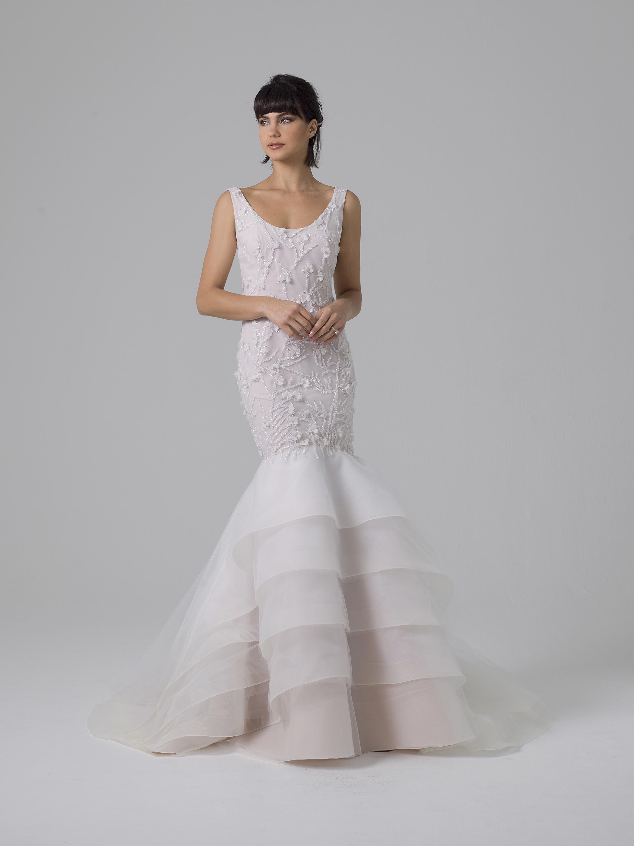 Liancarlo pink-tinted trumpet wedding dress fall 2019