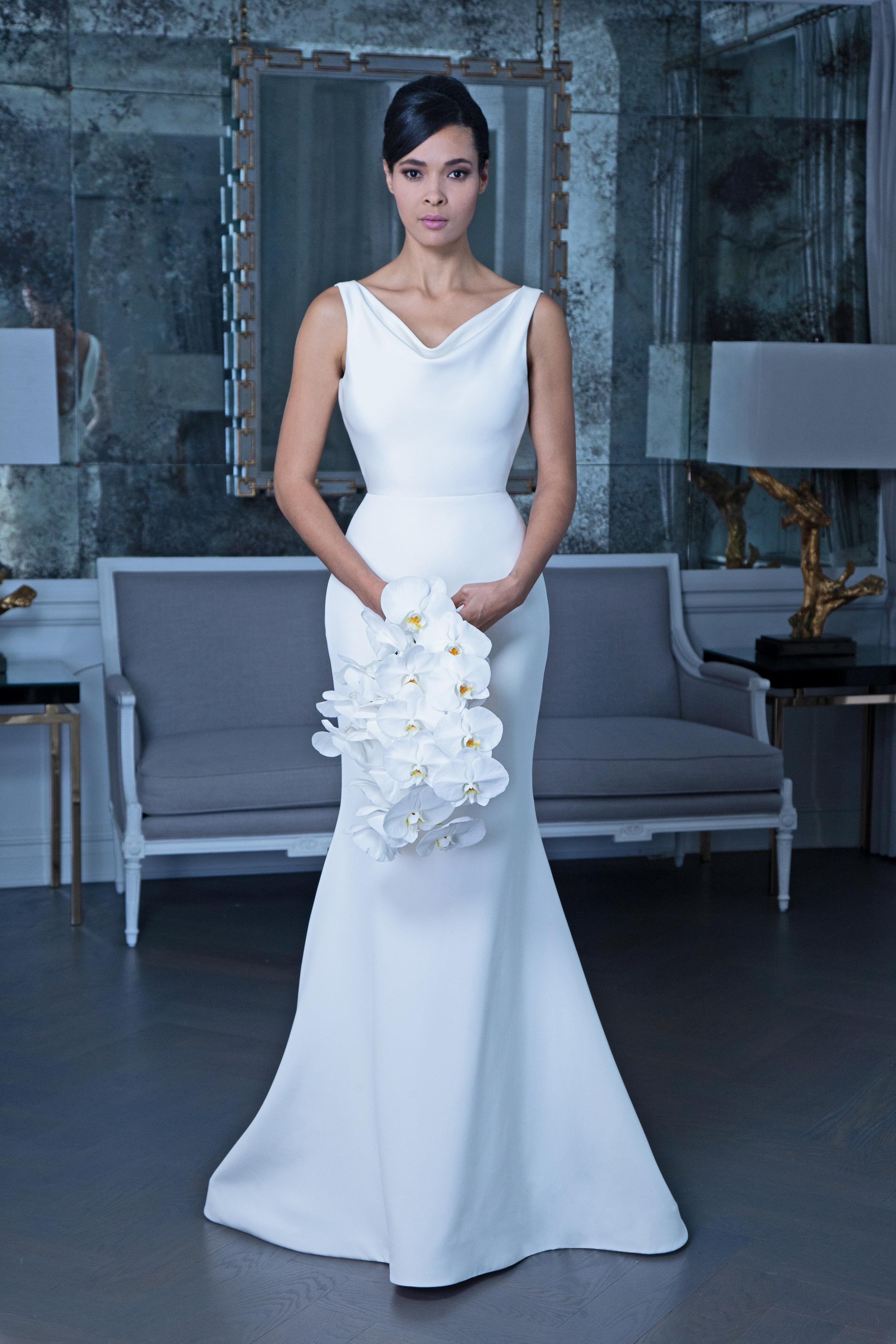 Romona satin trumpet wedding dress fall 2019