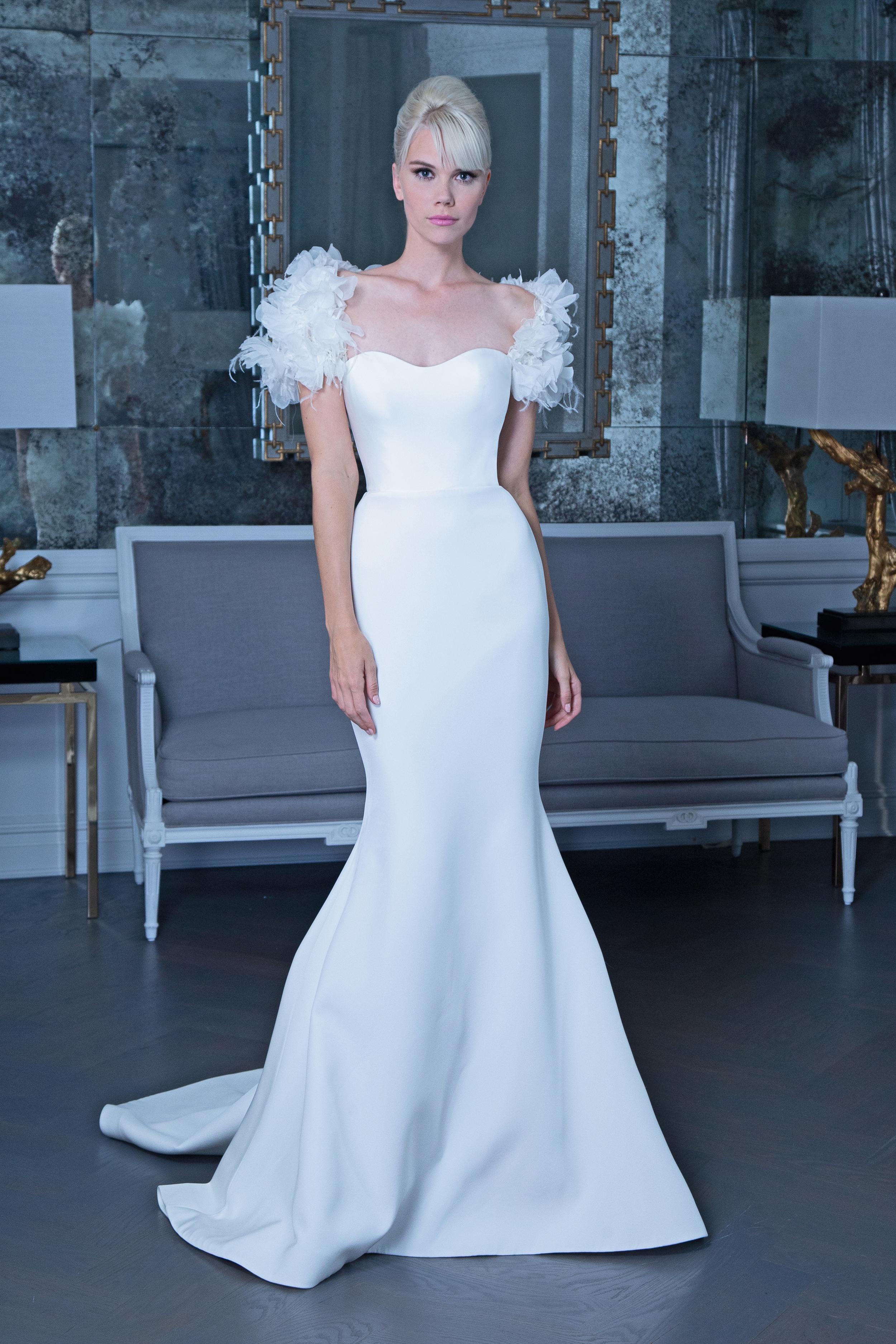 Romona trumpet wedding dress with puff sleeves fall 2019