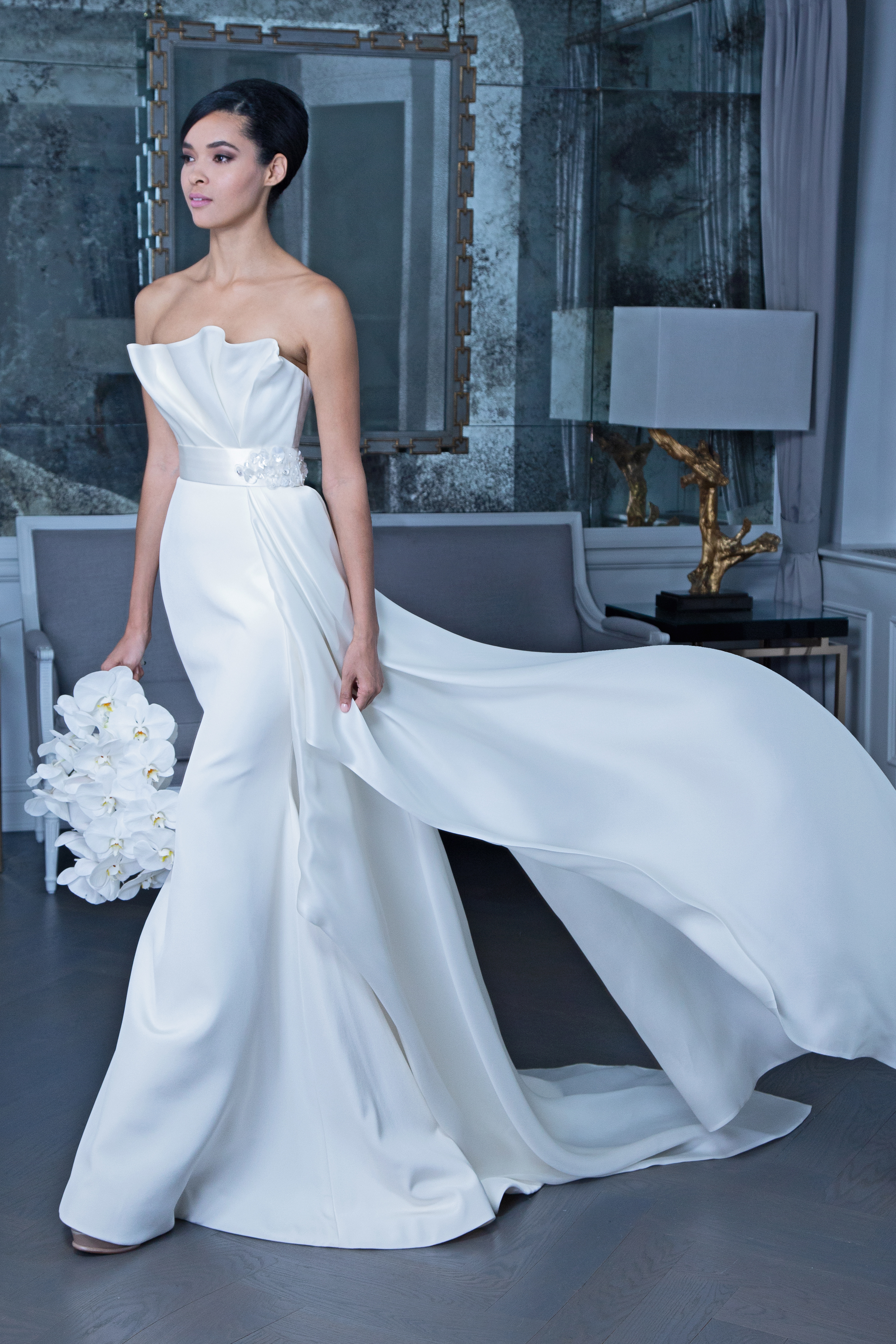 Romona strapless wedding dress with train fall 2019
