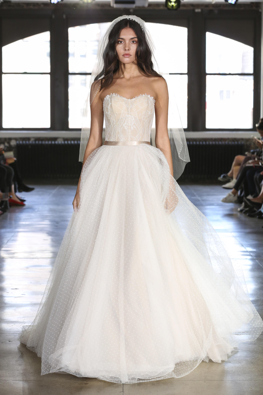 Watters strapless ball gown wedding dress fall 2019