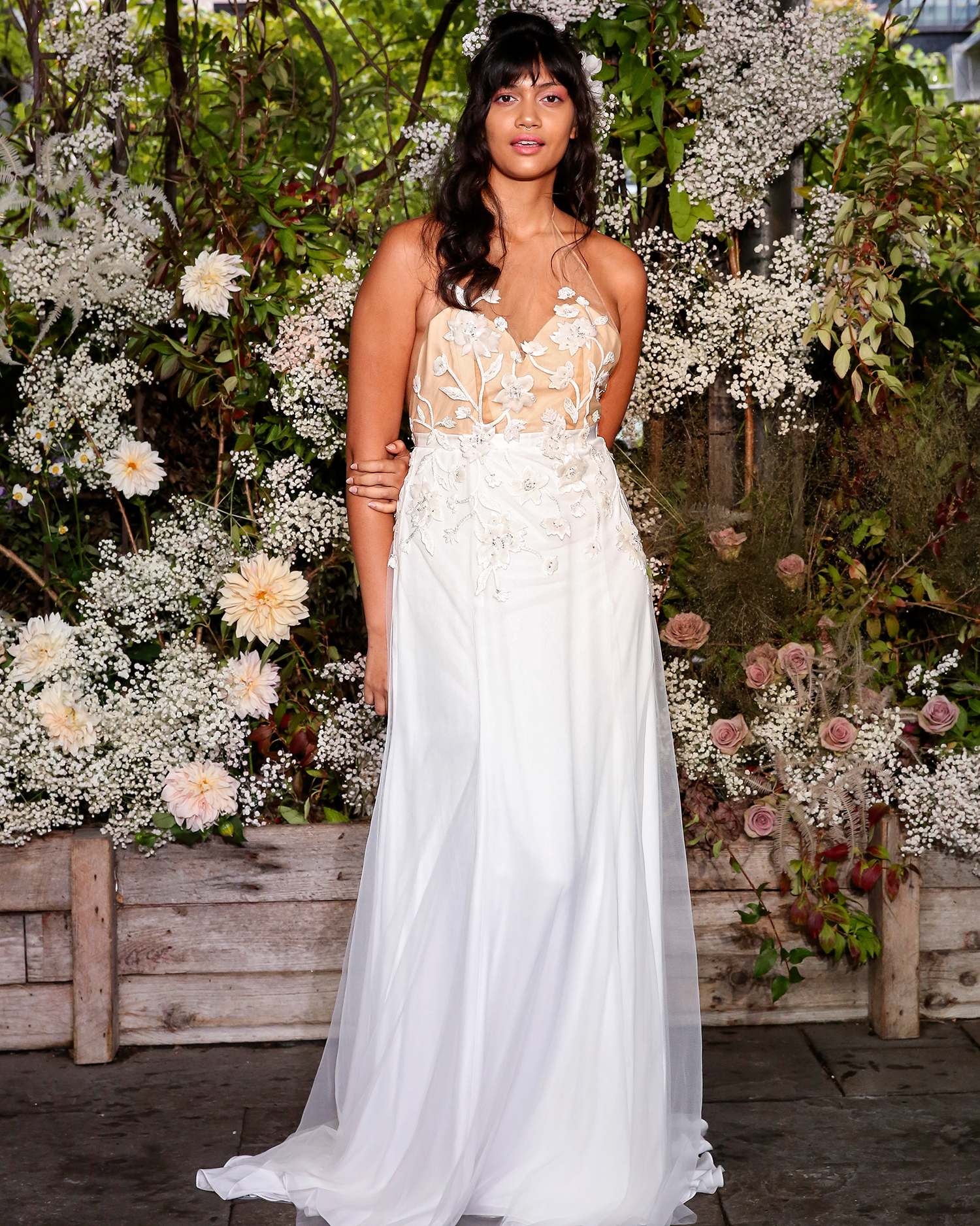 alexandra grecco wedding dress two-toned embellished overlay
