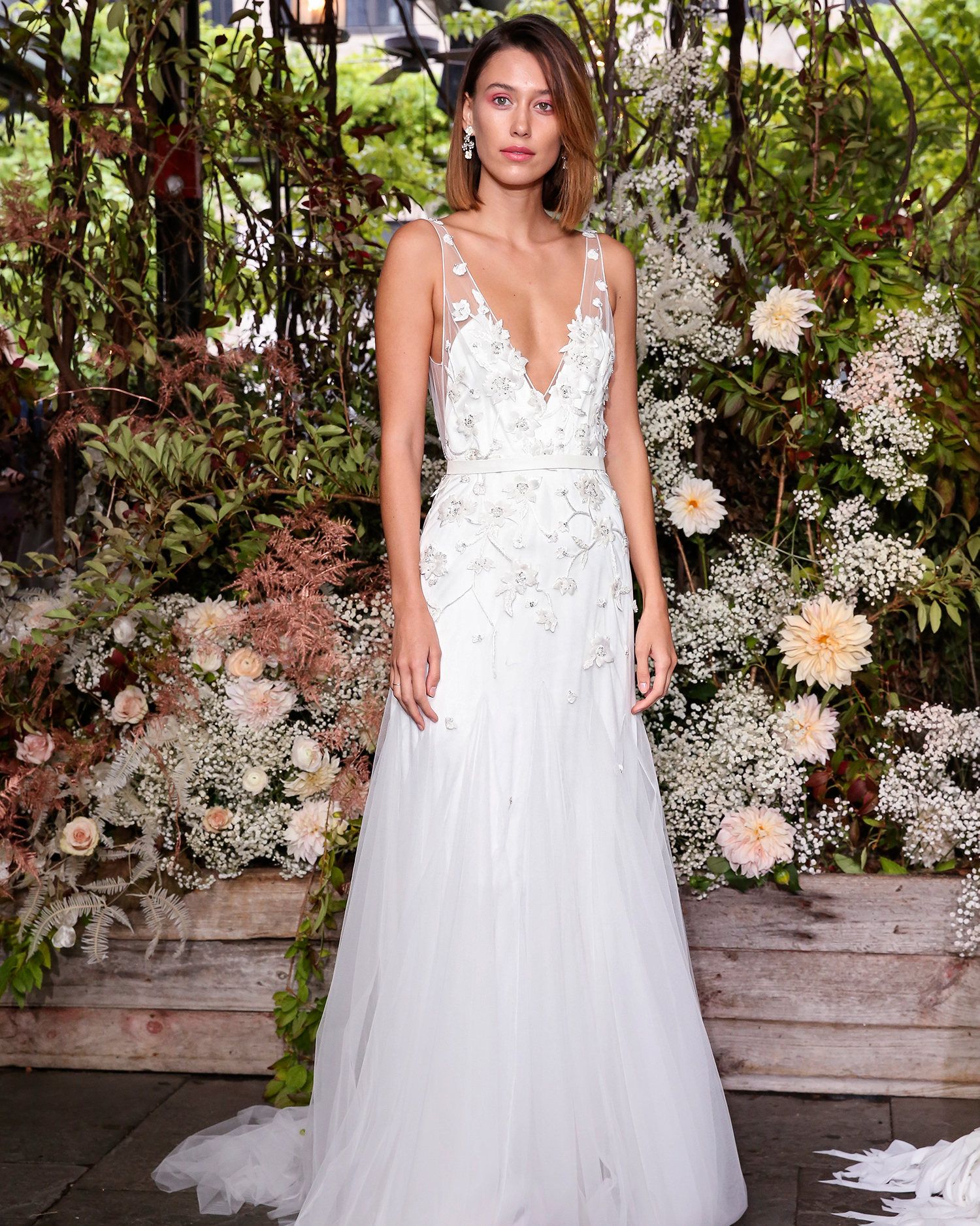 alexandra grecco wedding dress illusion straps applique a-line