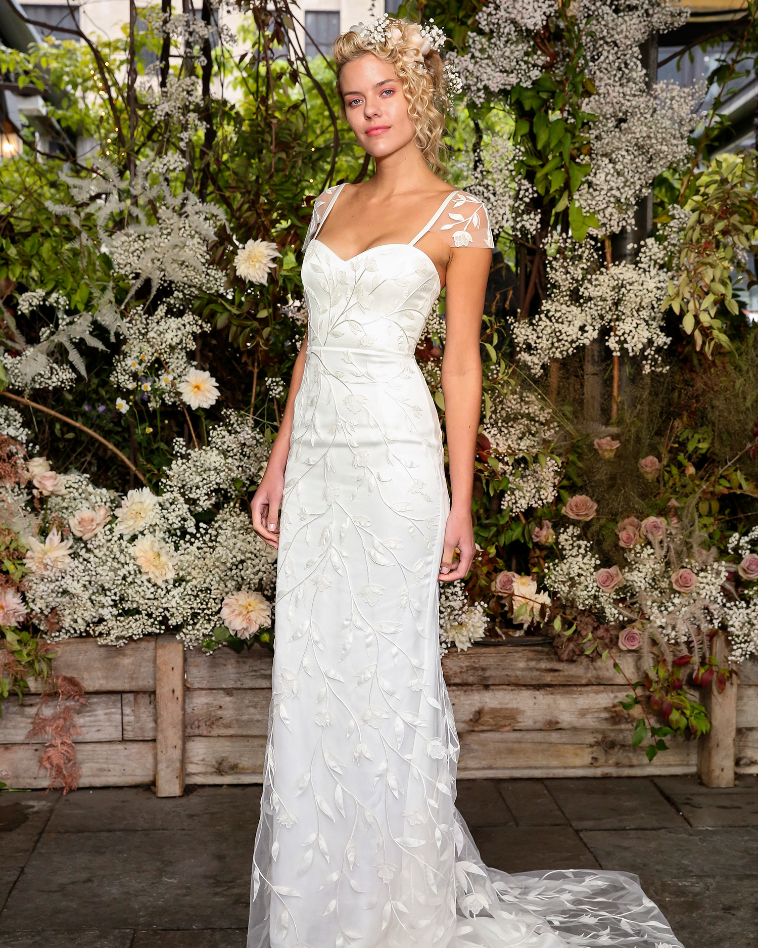 alexandra grecco wedding dress sweetheart floral embroidery