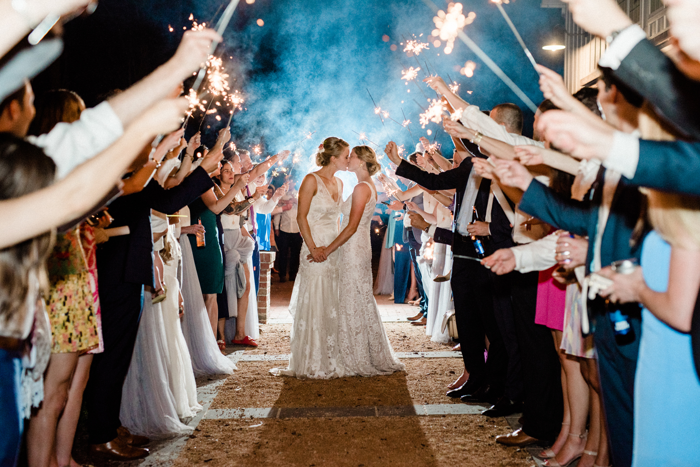 paige and kristine wedding sparkler send off