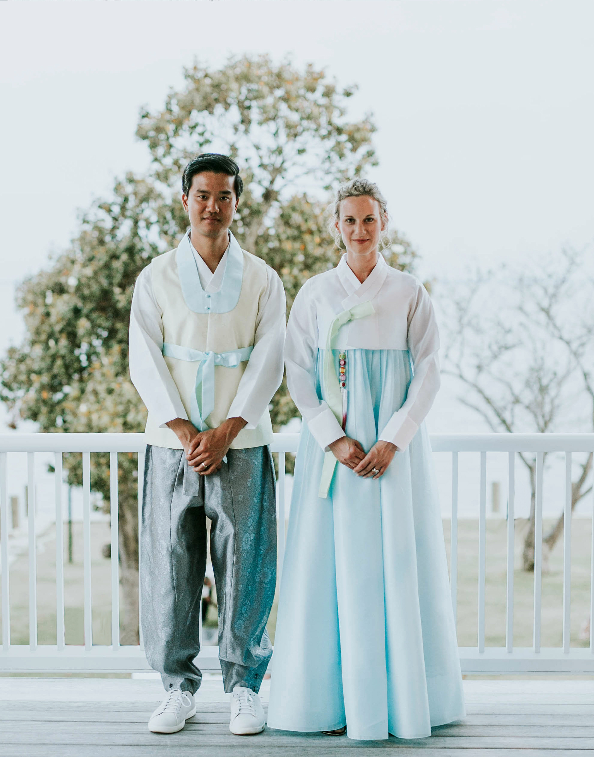 leah michael wedding couple hanbok