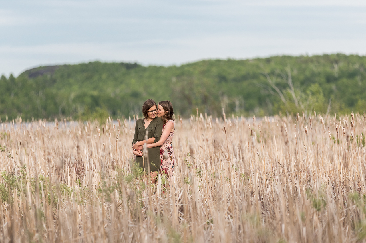 couple in crop field engagement photo