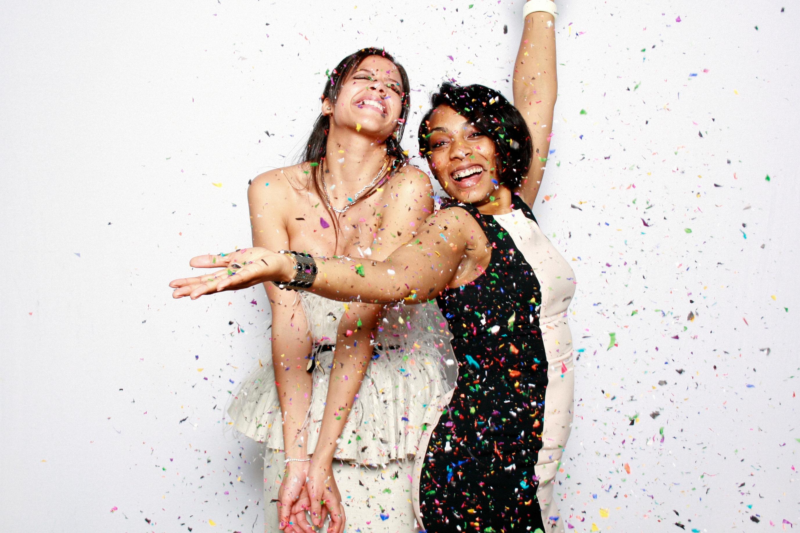 photo booth props colored confetti